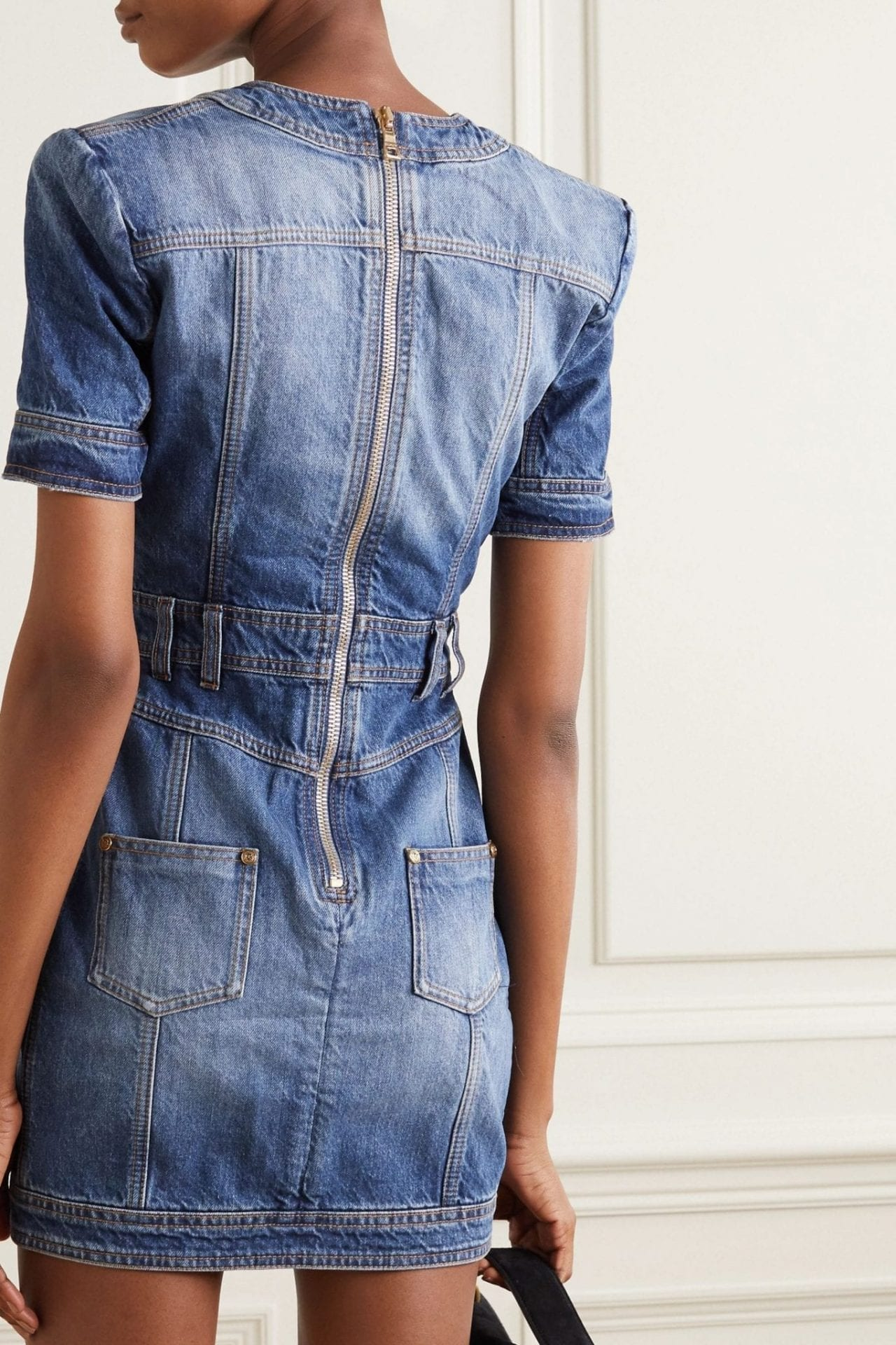 BALMAIN Button-embellished Denim Mini Dress