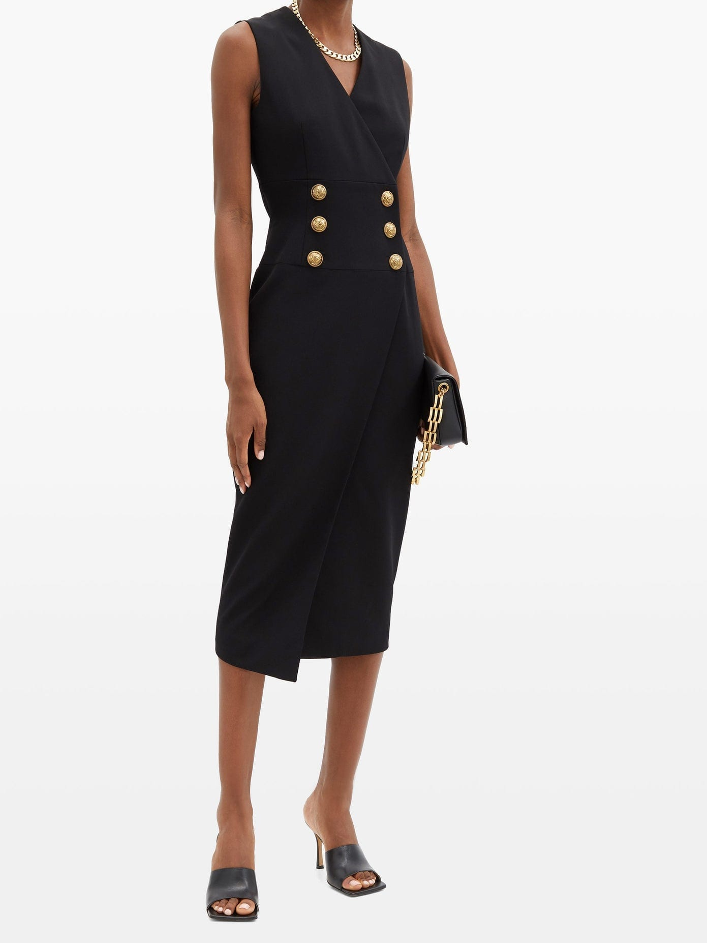 BALMAIN Tailored Buttoned Wrap Dress