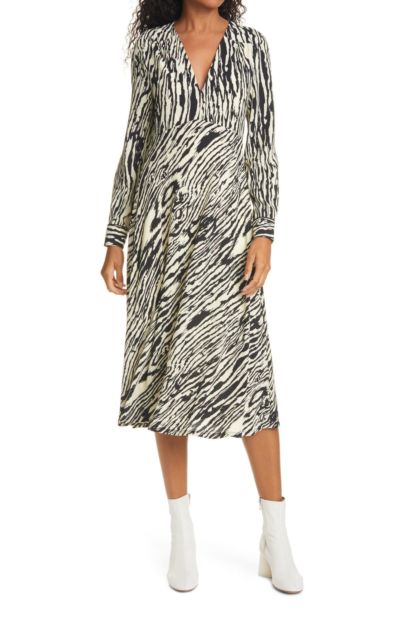 BAUM UND PFERDGARTEN Aericka Long Sleeve Midi Dress