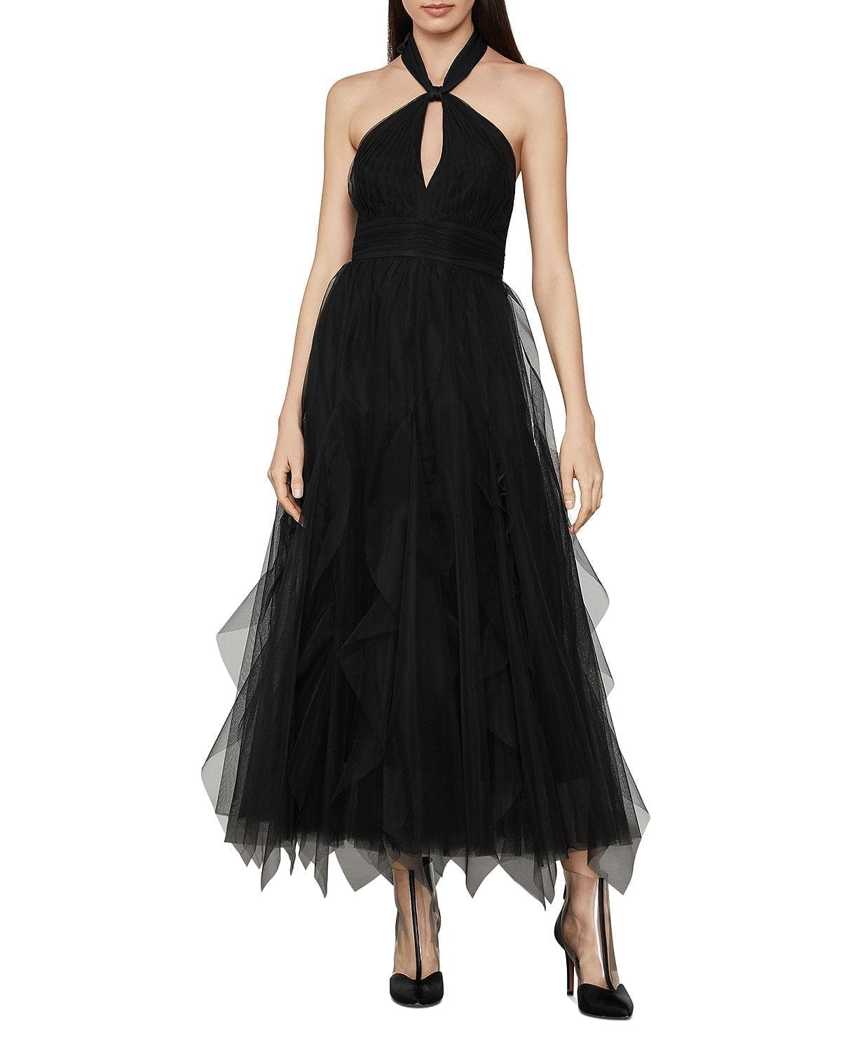 BCBGMAXAZRIA Tulle Halter Dress