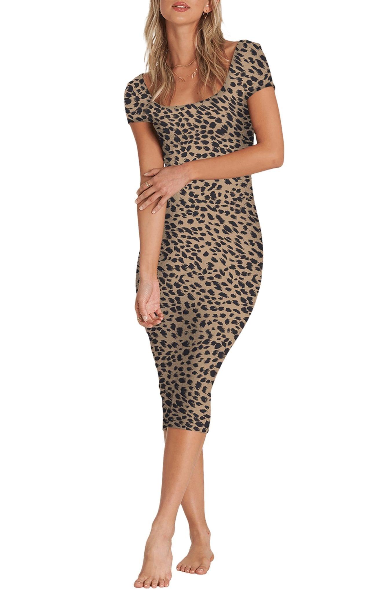 BILLABONG Mid Day Cheetah Print Body-Con Midi Dress