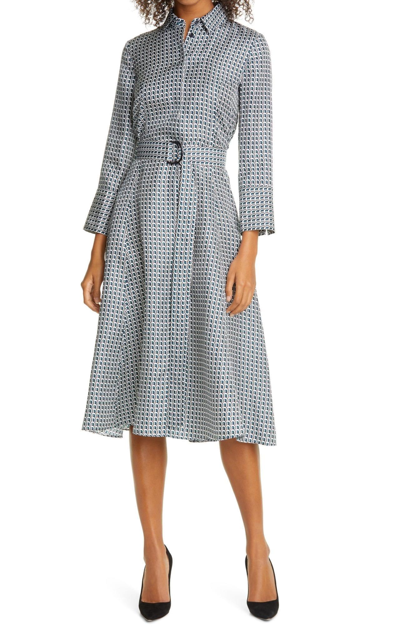 BOSS Danimala Long Sleeve Silk Fit & Flare Shirt Dress