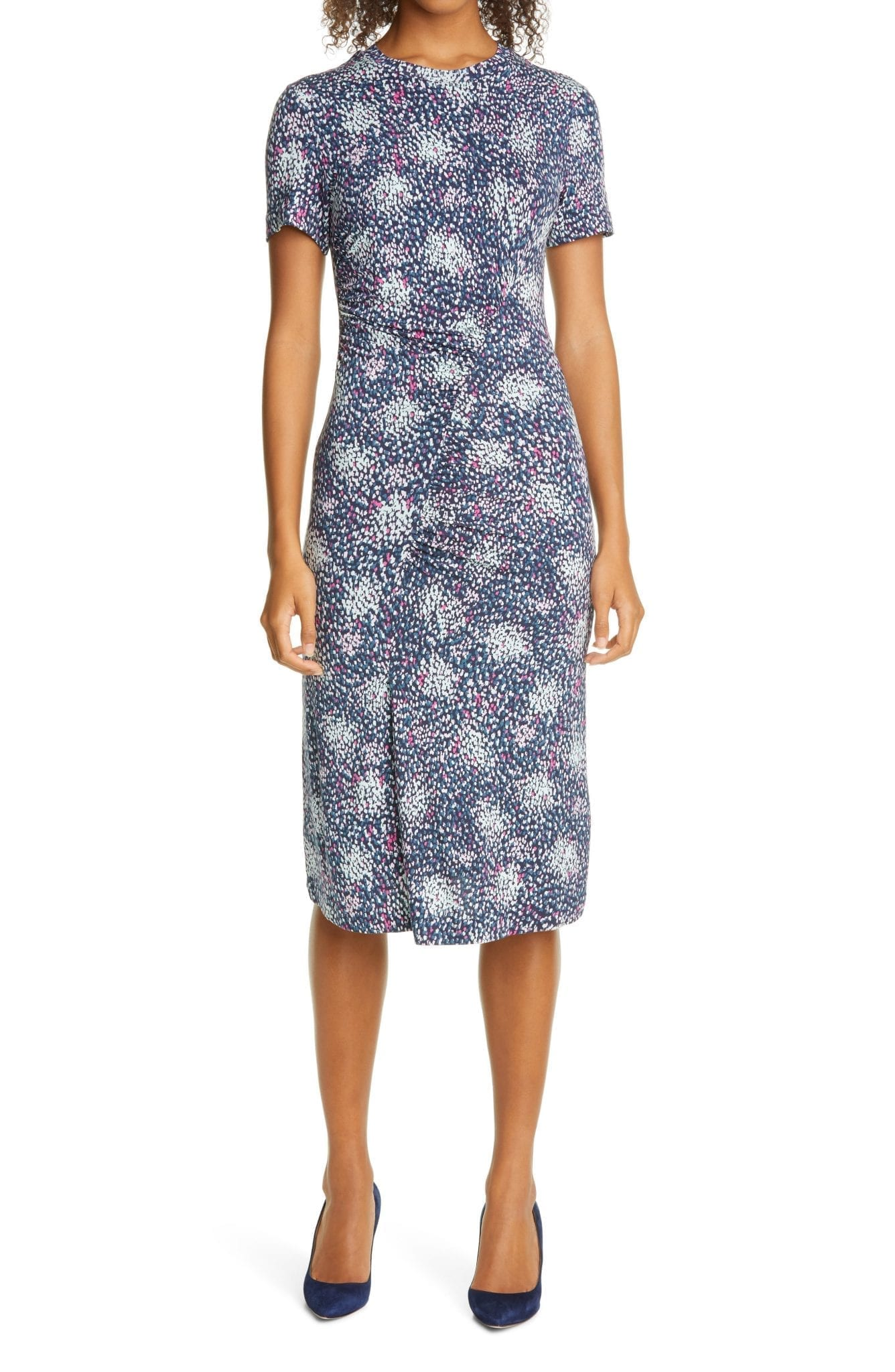 BOSS Enice Confetti Print Ruched Jersey Dress