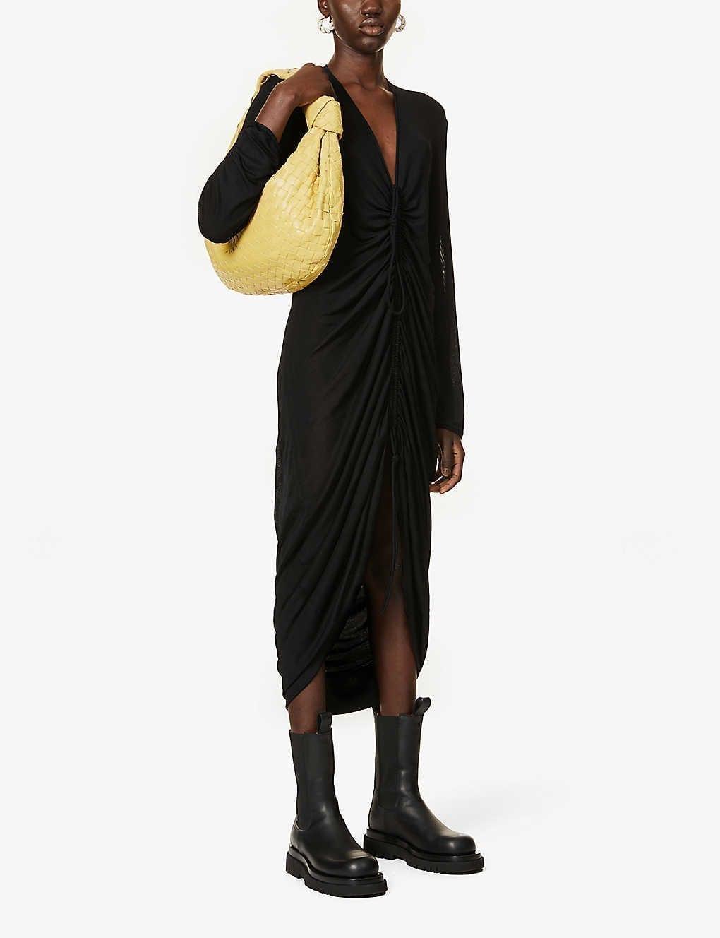 BOTTEGA VENETA Ruched Stretch-knit Midi Dress