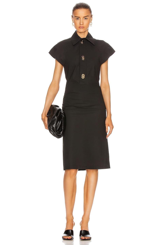 BOTTEGA VENETA Short Sleeve Belted Midi Dress