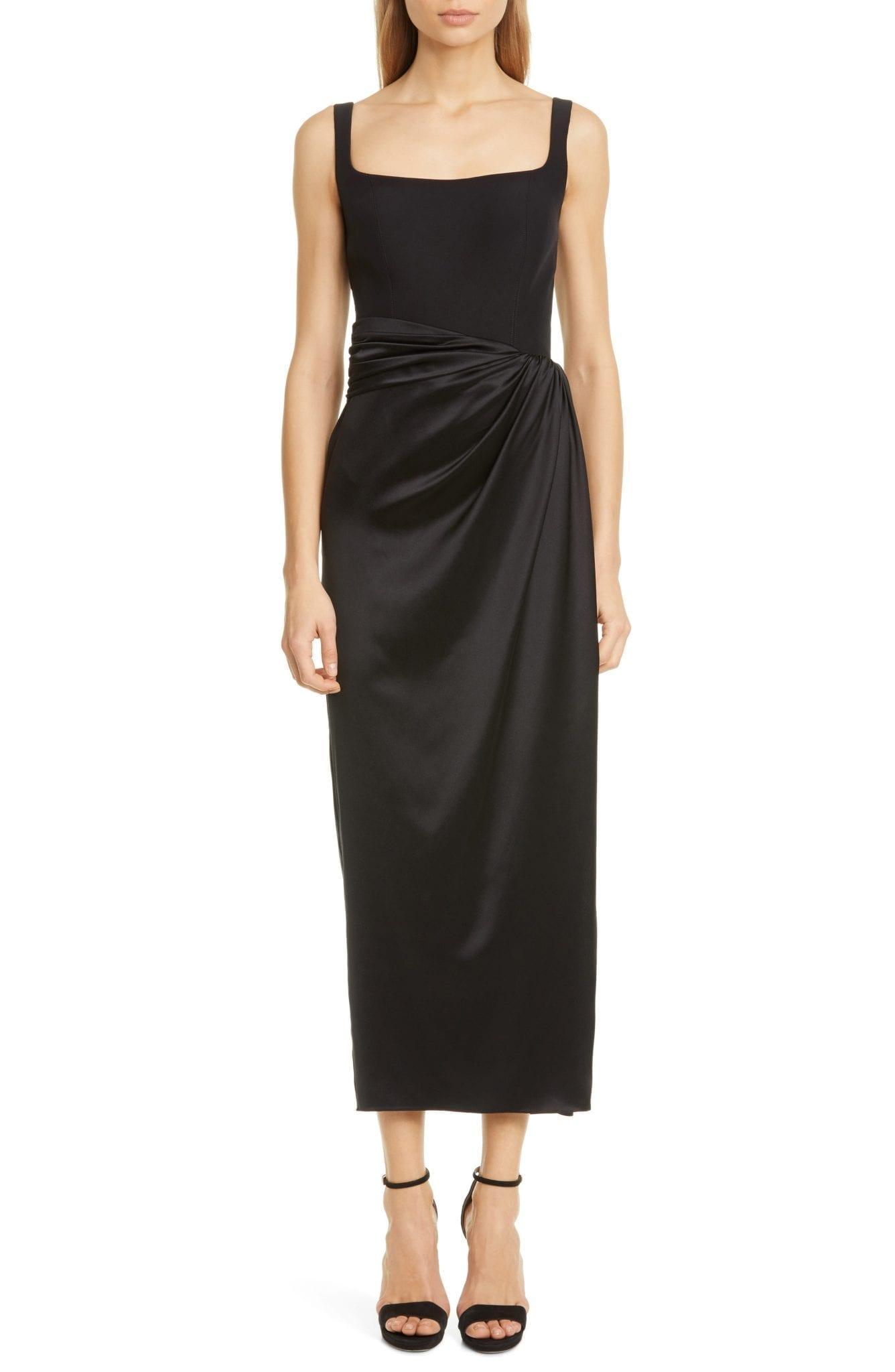 BRANDON MAXWELL Bustier Satin Skirt Silk Sheath Dress
