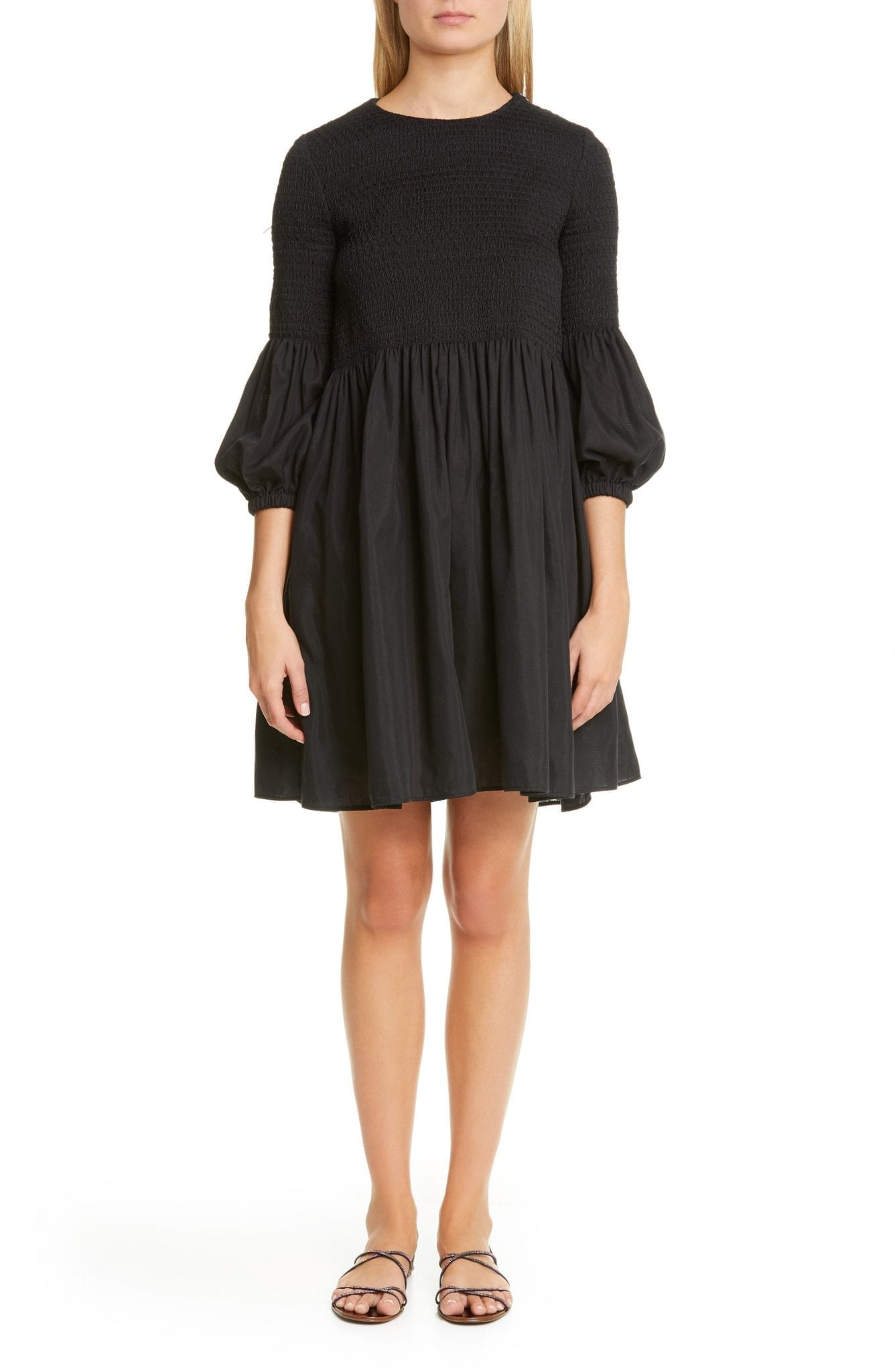 BROCK COLLECTION Smocked Bodice Puff Sleeve Mini Dress