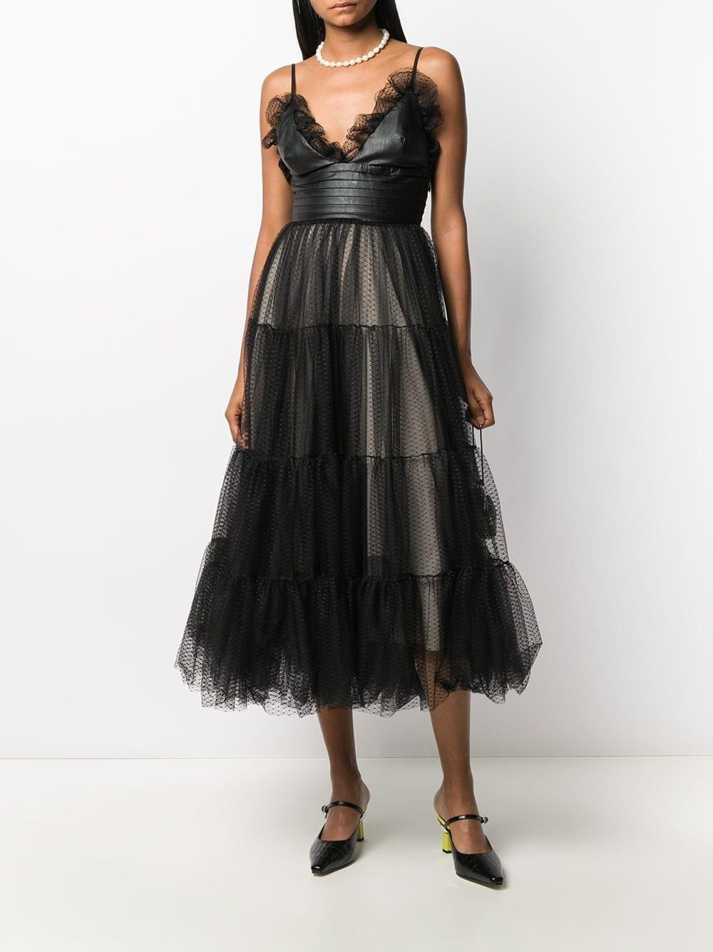 BROGNANO Tulle Tiered Midi Dress