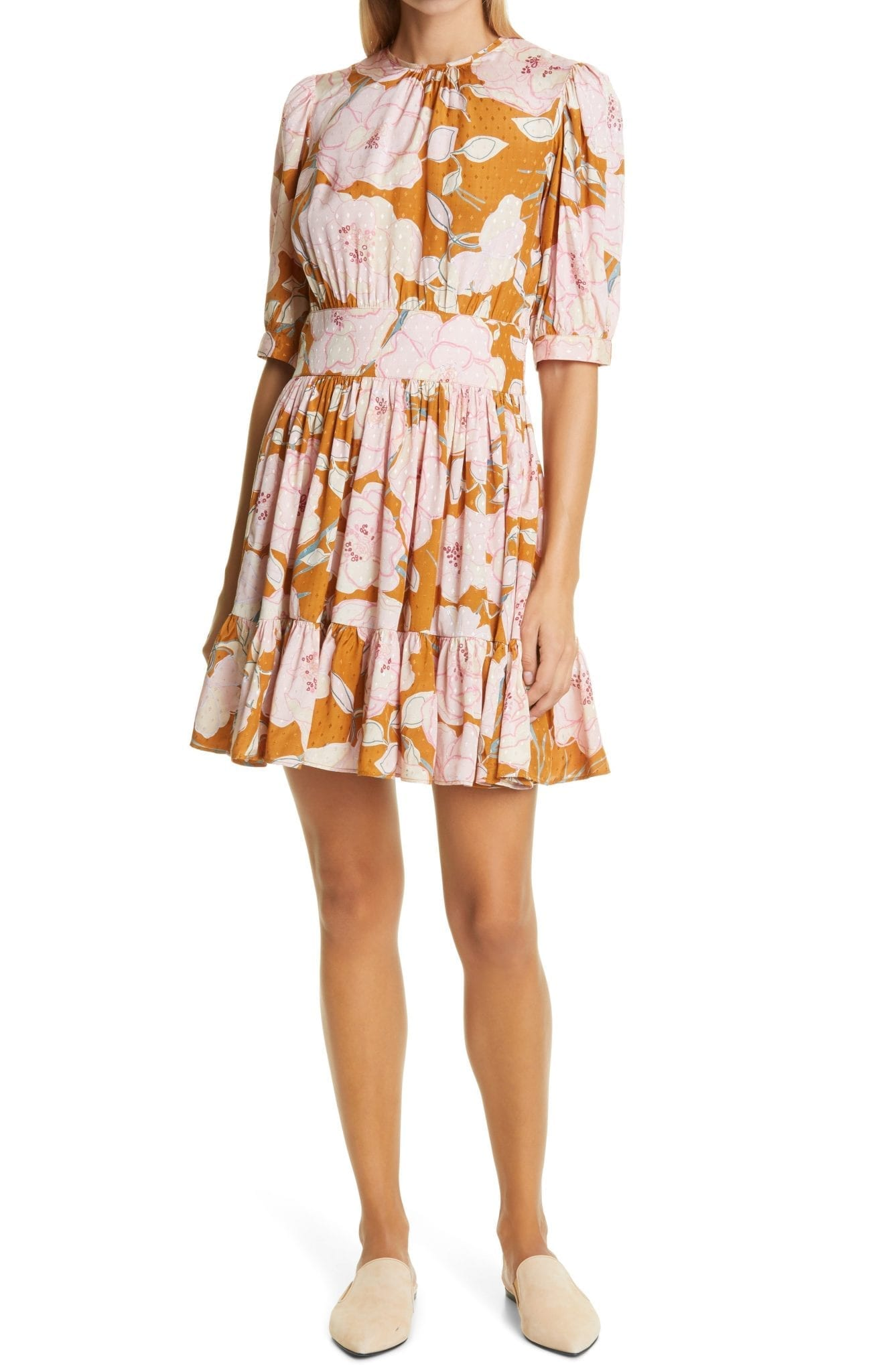 BYTIMO Floral Print Diamond Dobby Mini Dress