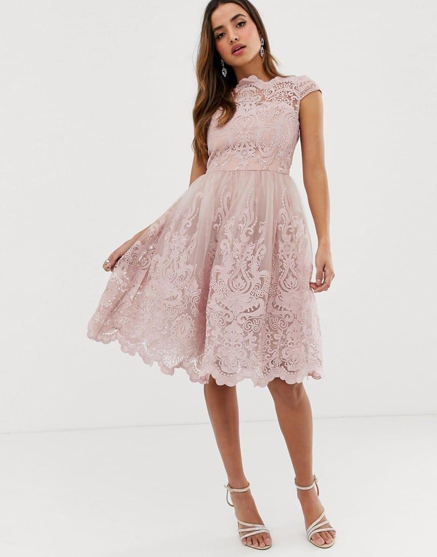 CHI CHI LONDON Premium Lace Midi Prom Dress
