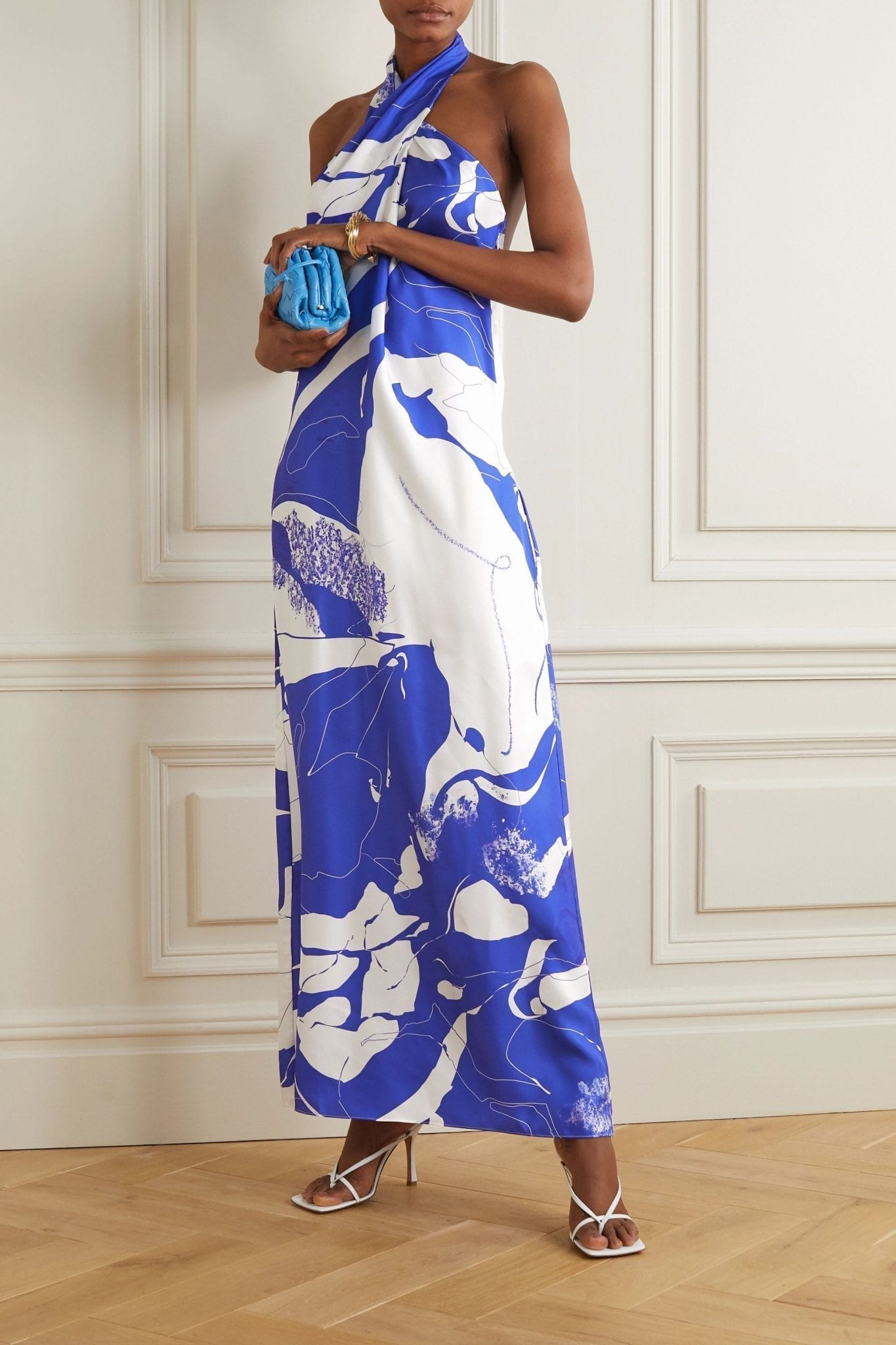 CHRISTOPHER ESBER Printed Silk-twill Halterneck Maxi Dress