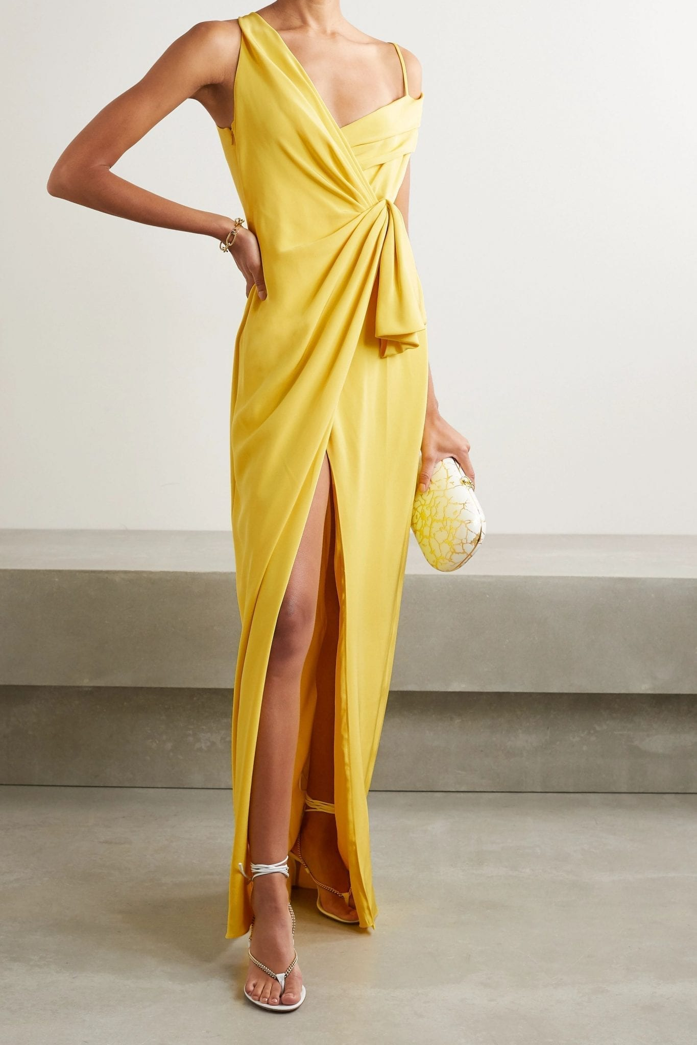 CUSHNIE Asymmetric Wrap-effect Silk-crepe Gown
