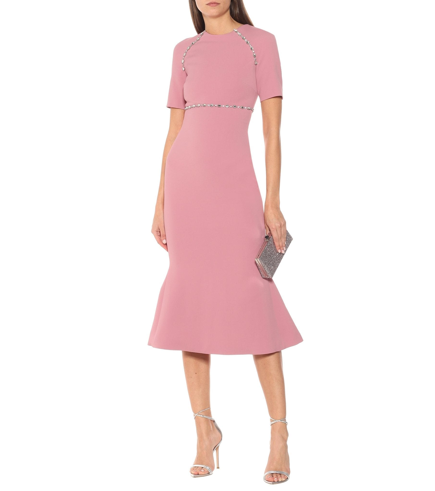 DAVID KOMA Crystal-embellished Cady Midi Dress