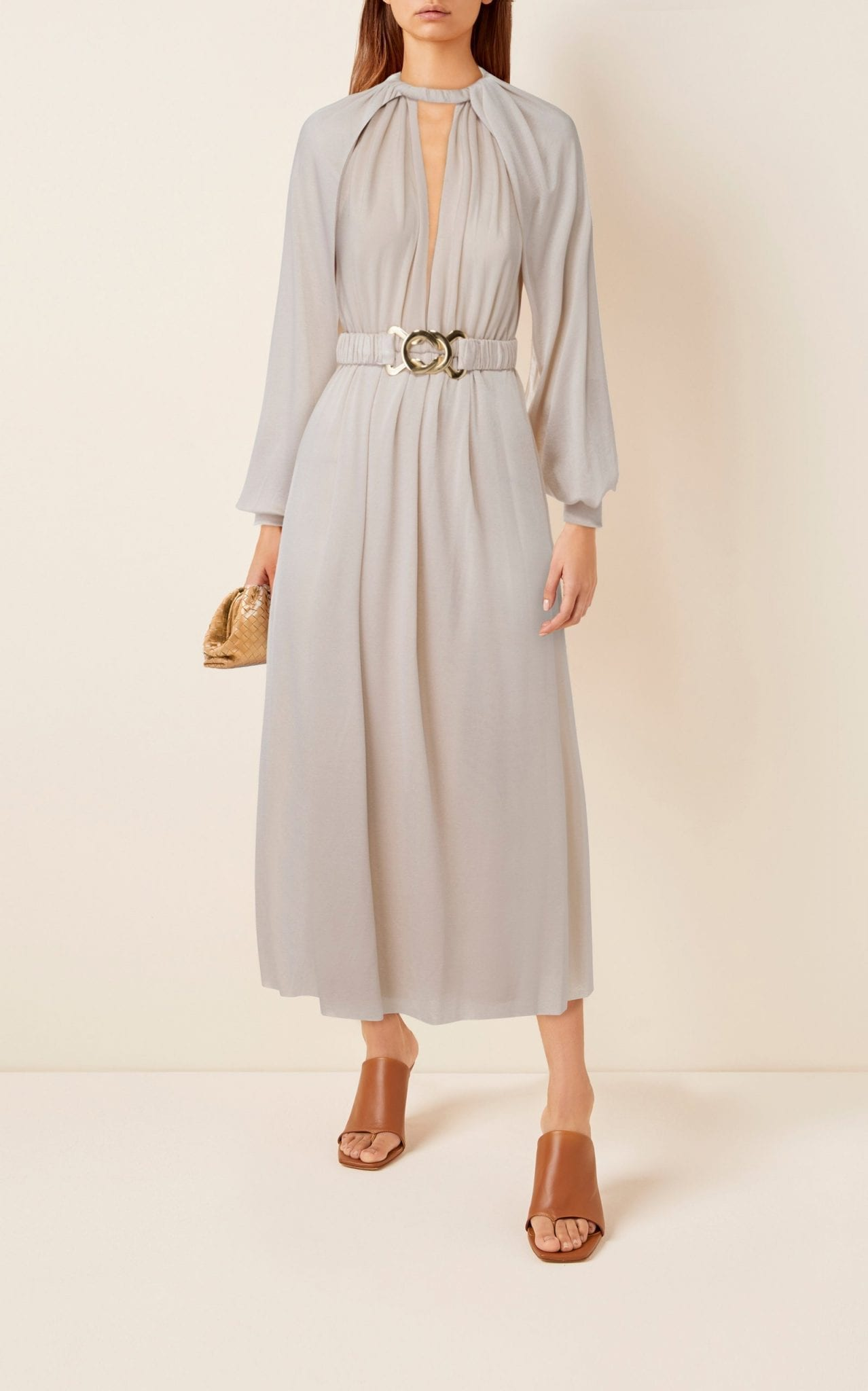 DODO BAR OR Mika Cape-Effect Belted Crepe Dress