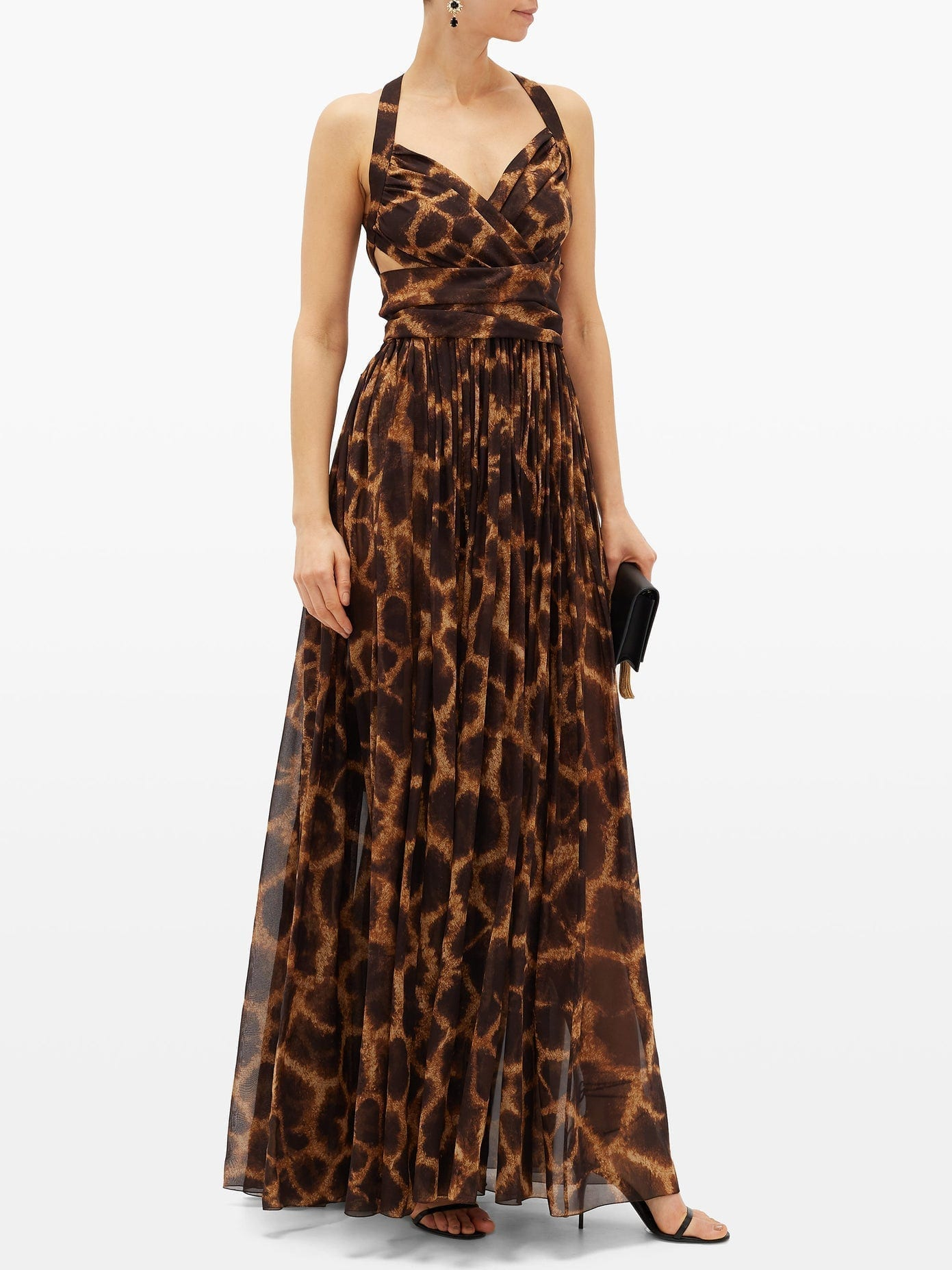 DOLCE & GABBANA Giraffe-print Silk-georgette Dress