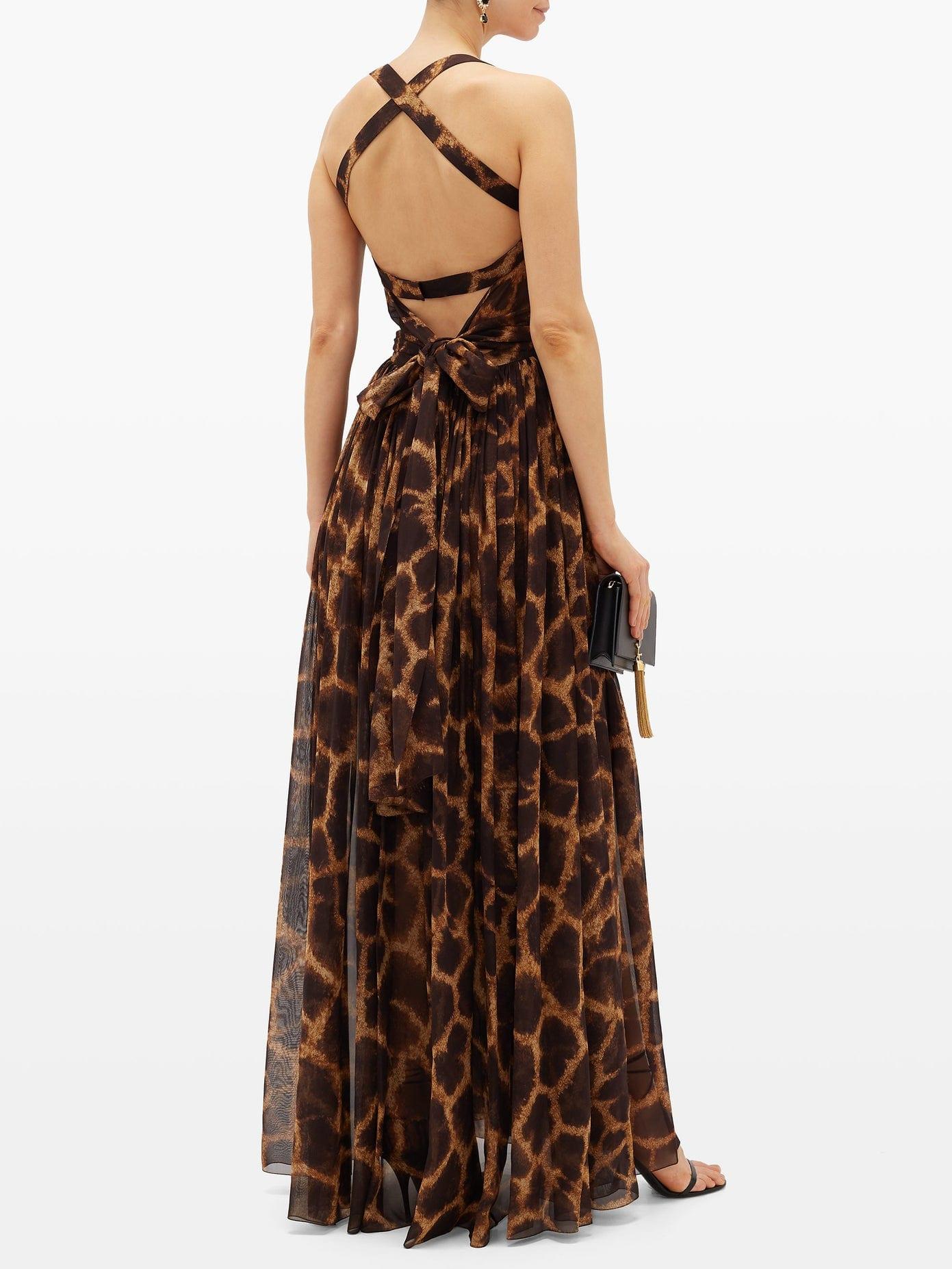 DOLCE & GABBANA Giraffe-print Silk-georgette Dress