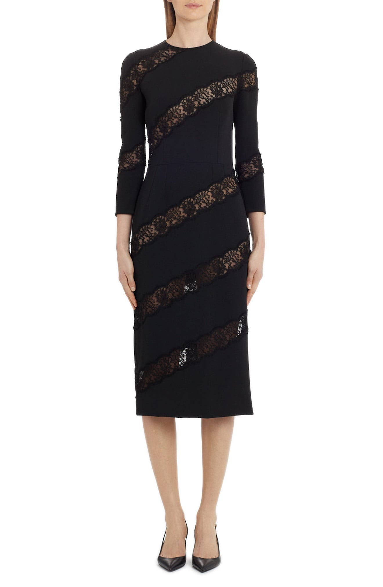 DOLCE&GABBANA Scalloped Lace Inset Midi Dress