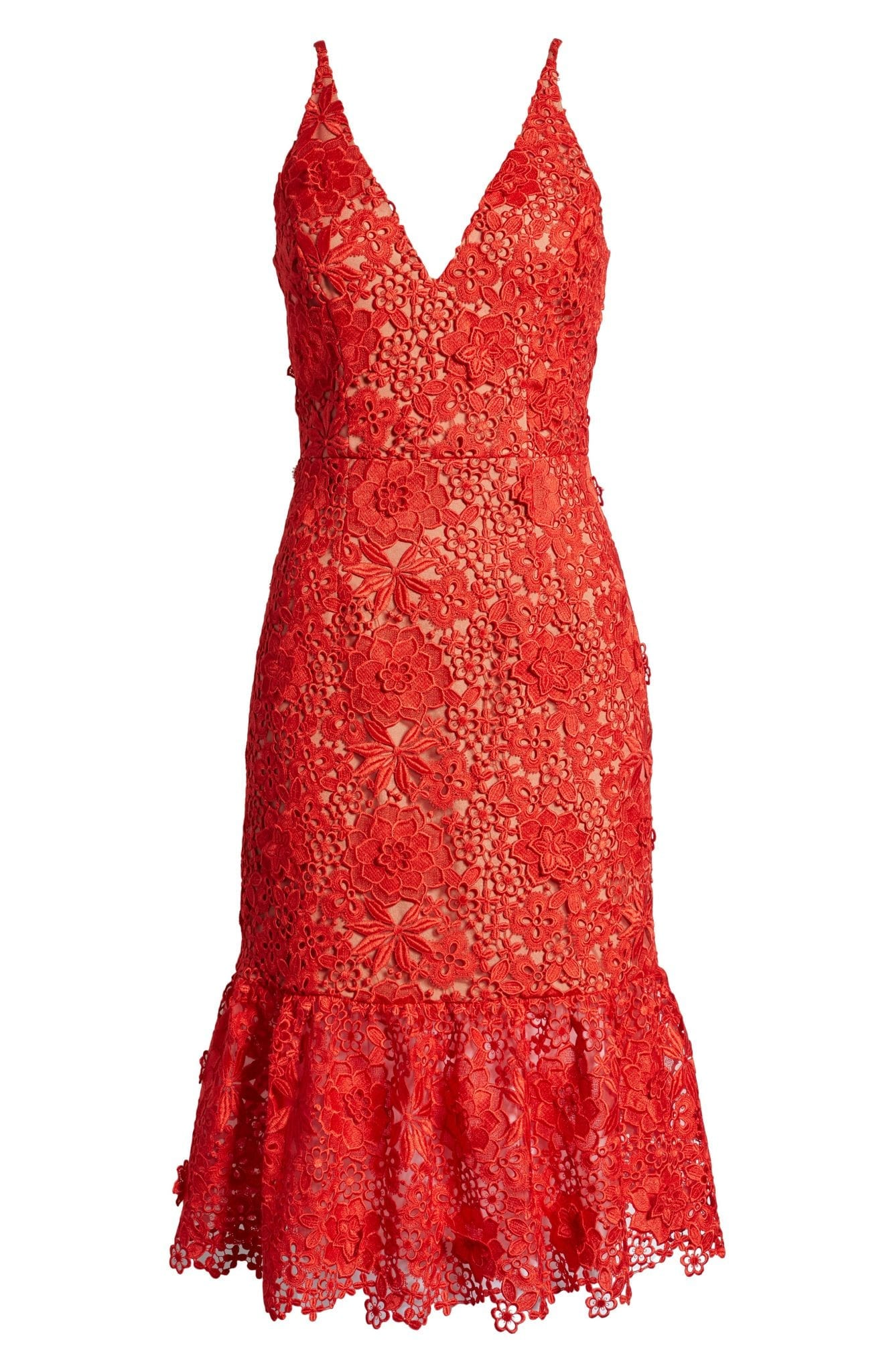 DRESS THE POPULATION Astrid Sleeveless Crochet Lace Dress