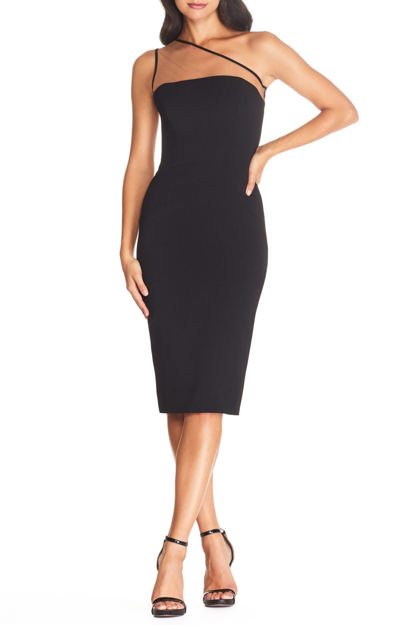 DRESS THE POPULATION Rayna Illusion One-Shoulder Cocktail Dress