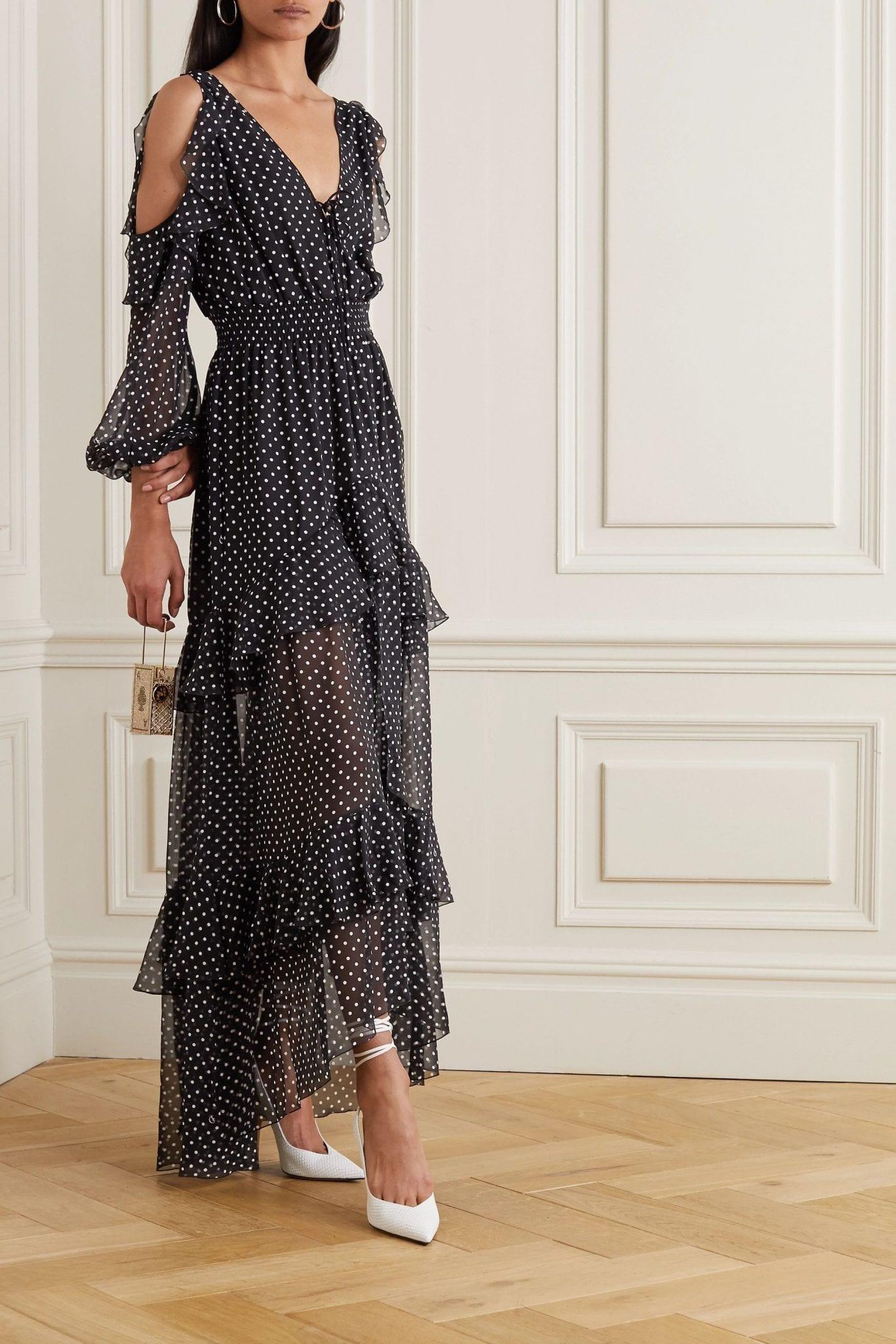 DUNDAS Cold-shoulder Ruffled Polka-dot Silk-chiffon Maxi Dress
