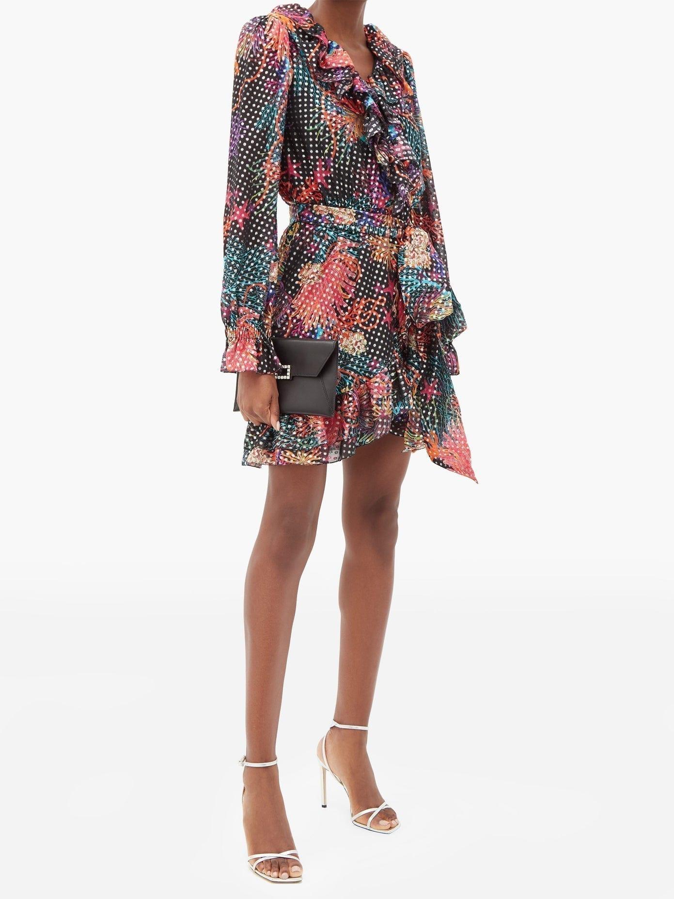 DUNDAS Floral-print Fil-coupé Silk-blend Wrap Dress