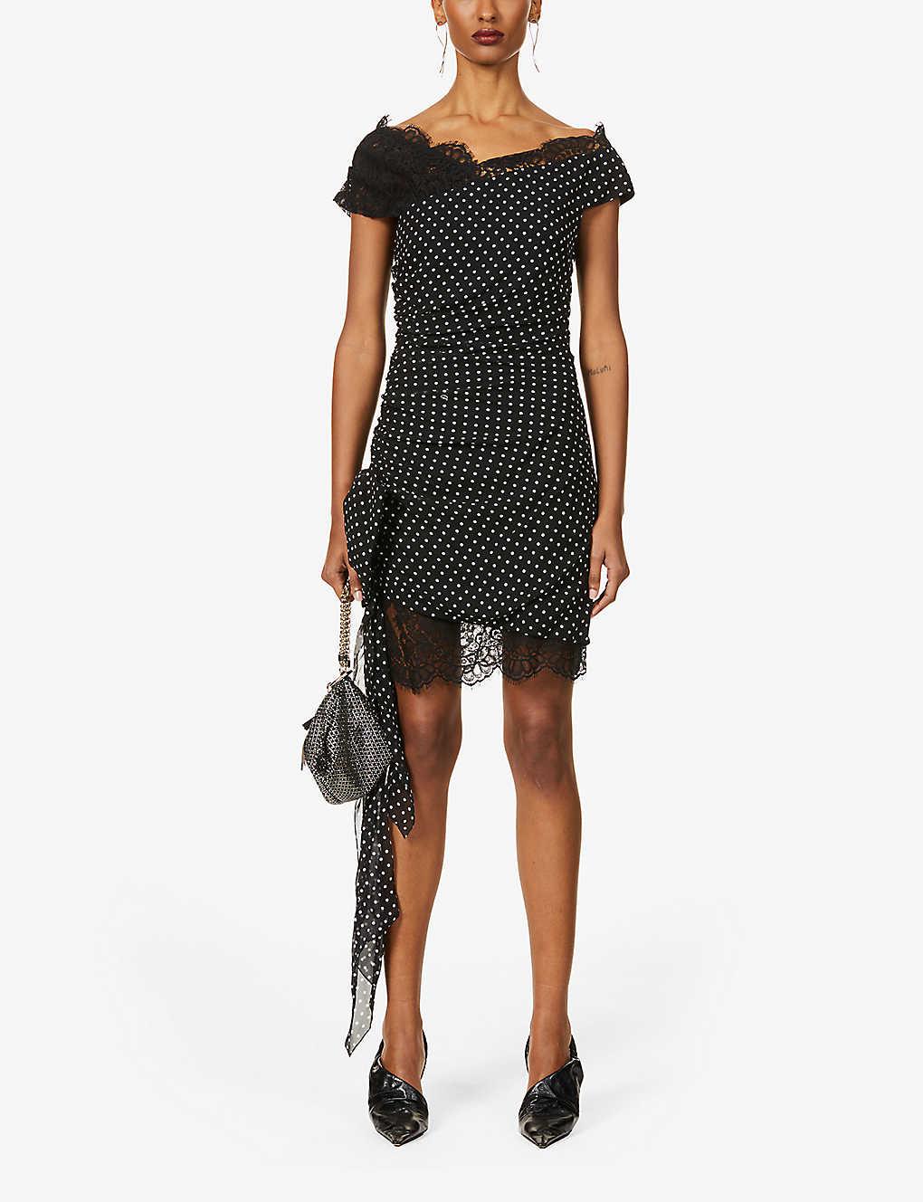 DUNDAS Polka Dot Silk-blend Mini Dress