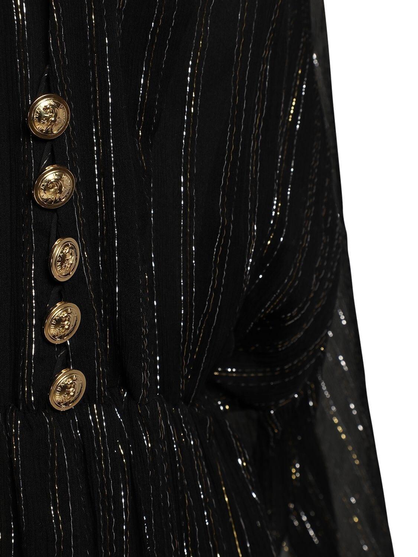 DUNDAS Silk Georgette & Lurex Sheer Long Dress
