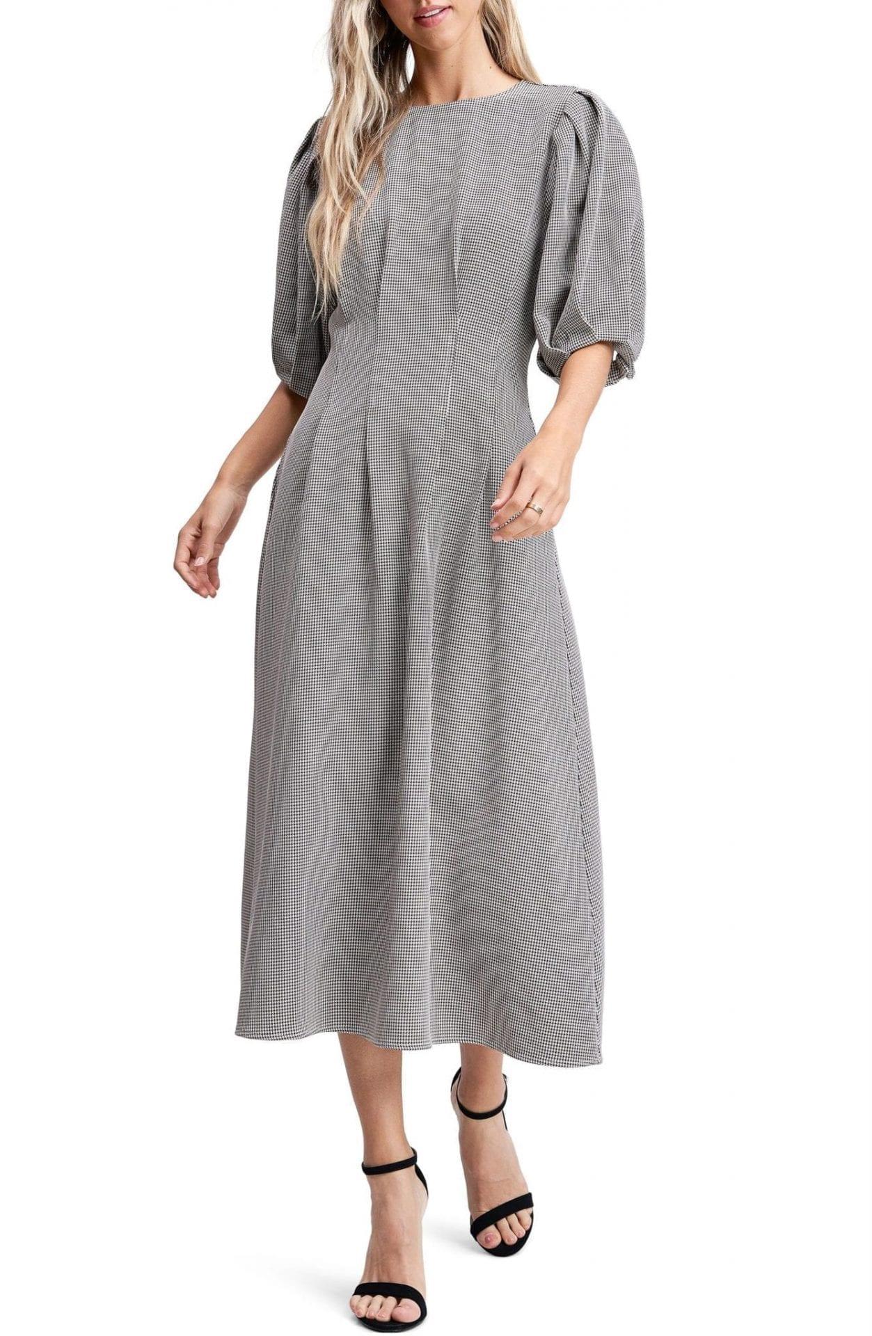 EN SAISON Puff Sleeve Midi Dress