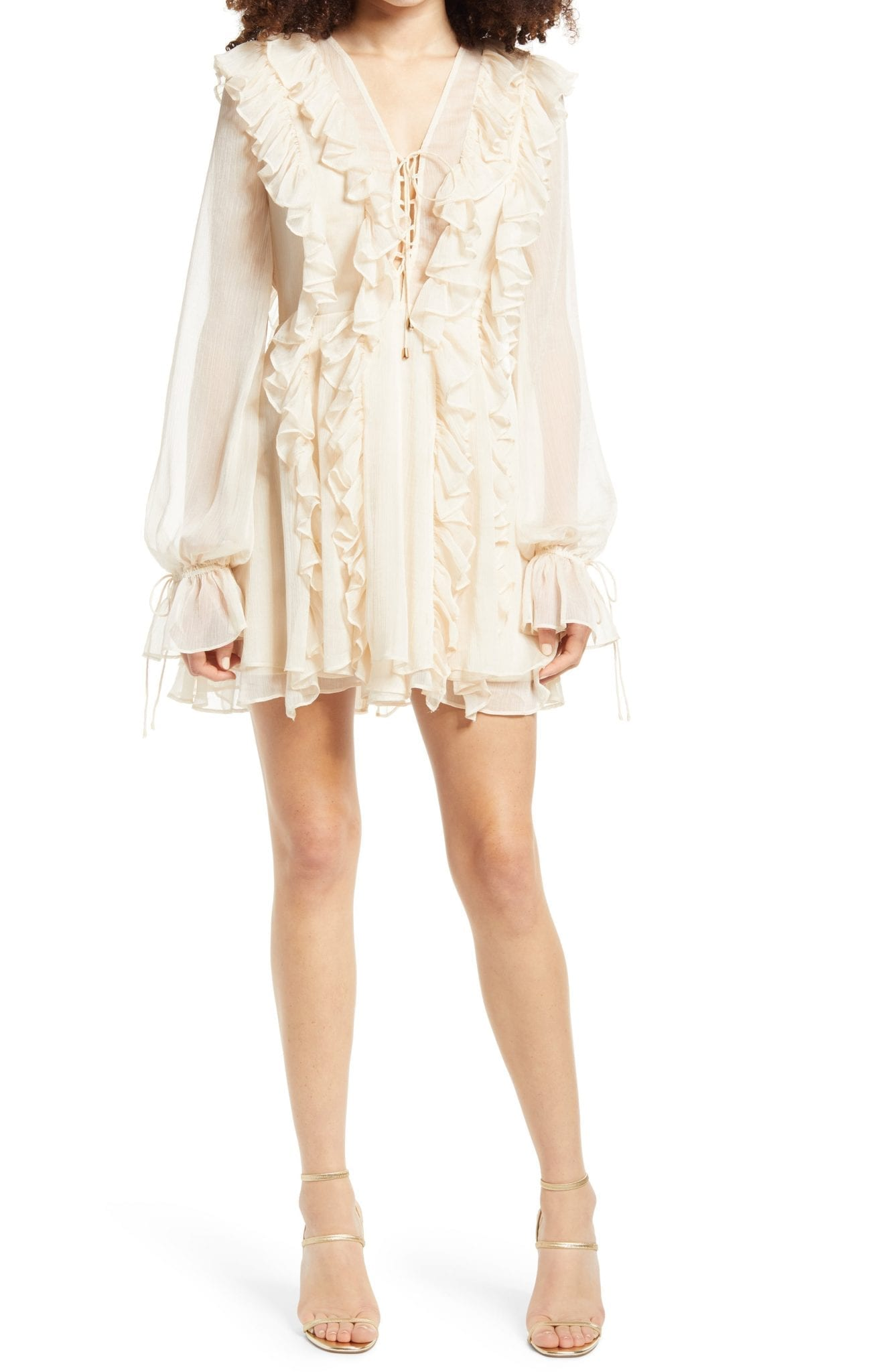 ENDLESS ROSE Ruffle Tie Front Long Sleeve Mini Dress