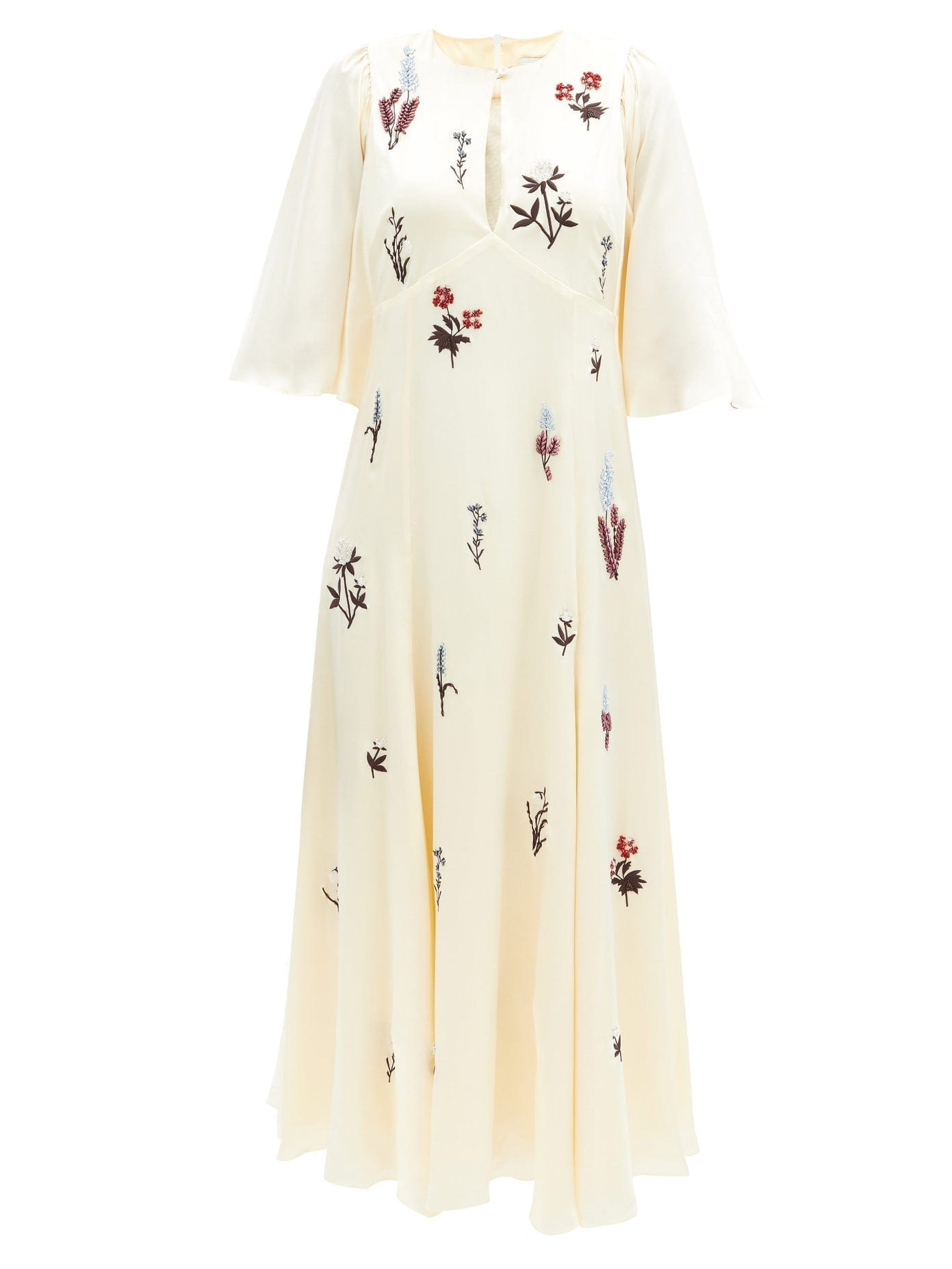 ERDEM Alcie Beaded And Embroidered Silk-satin Dress