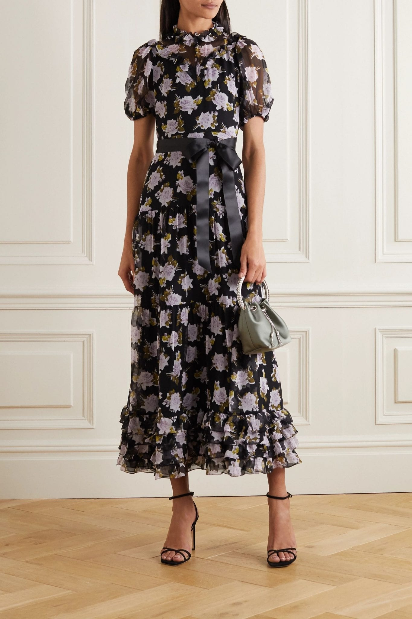 ERDEM Elinor Satin-trimmed Tiered Floral-print Silk-chiffon Midi Dress