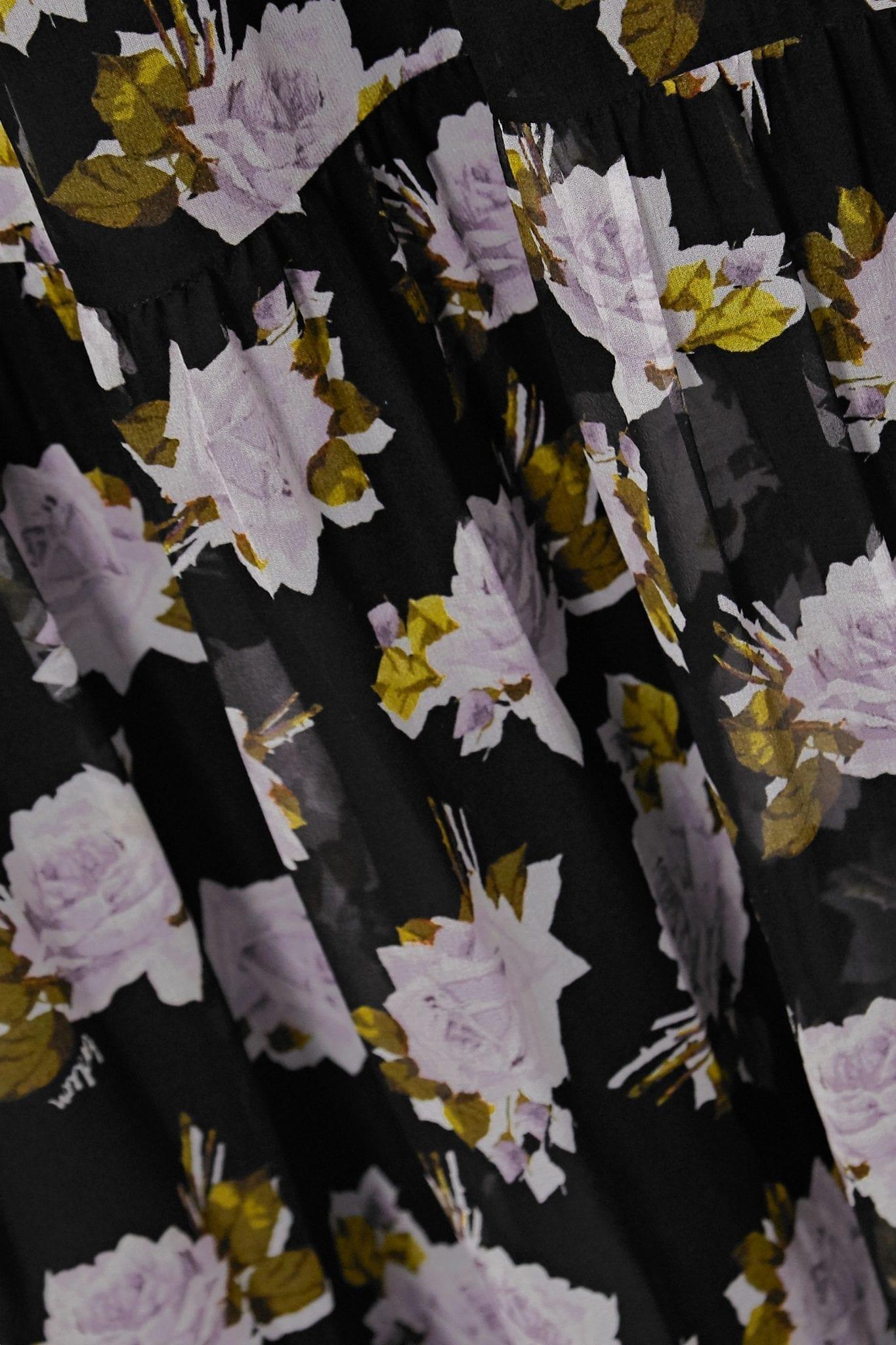 ERDEM Elinor Satin-trimmed Tiered Floral-print Silk-chiffon Midi Dress