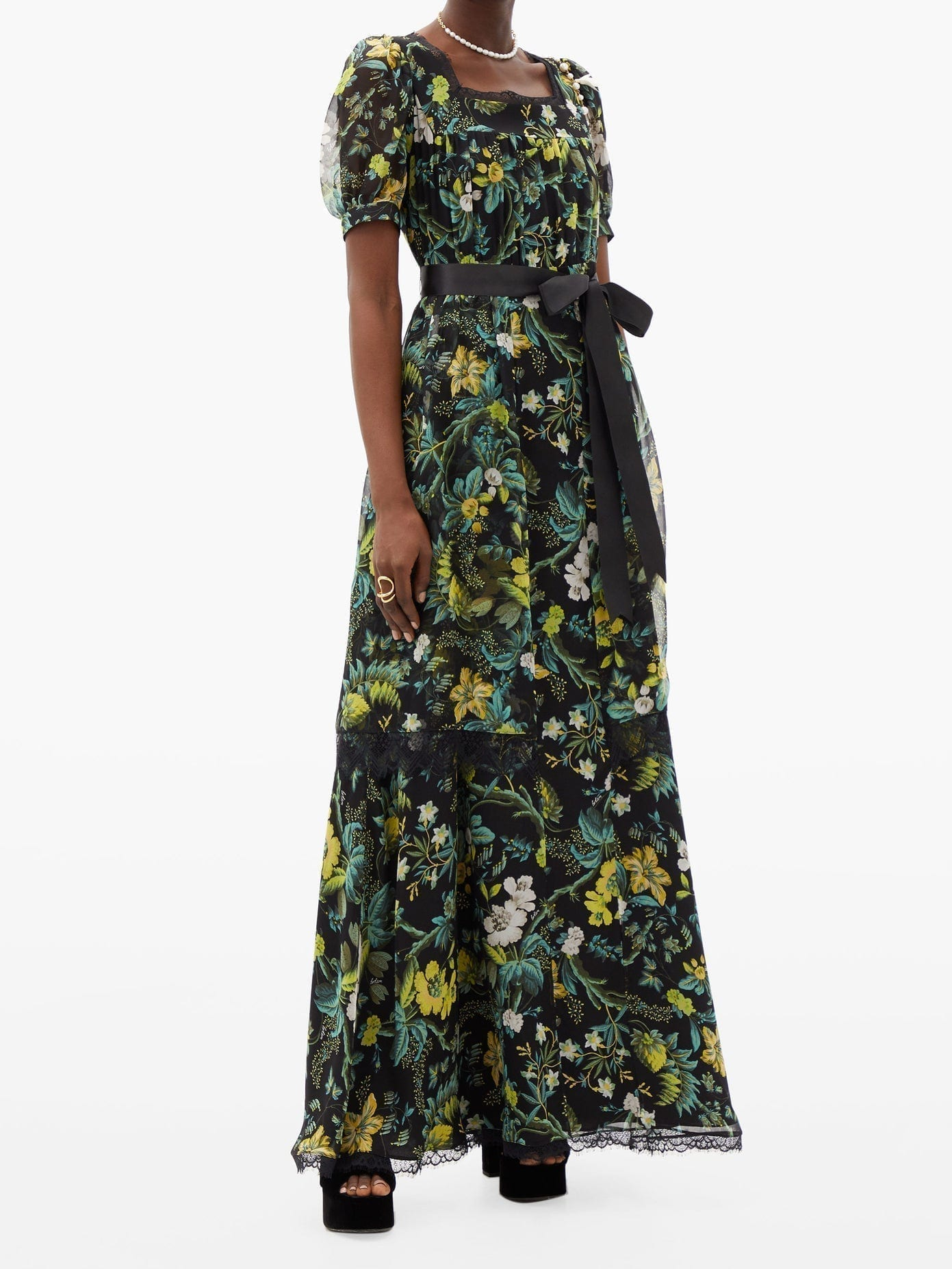 ERDEM Florencia Floral-print Lace-trimmed Silk Gown