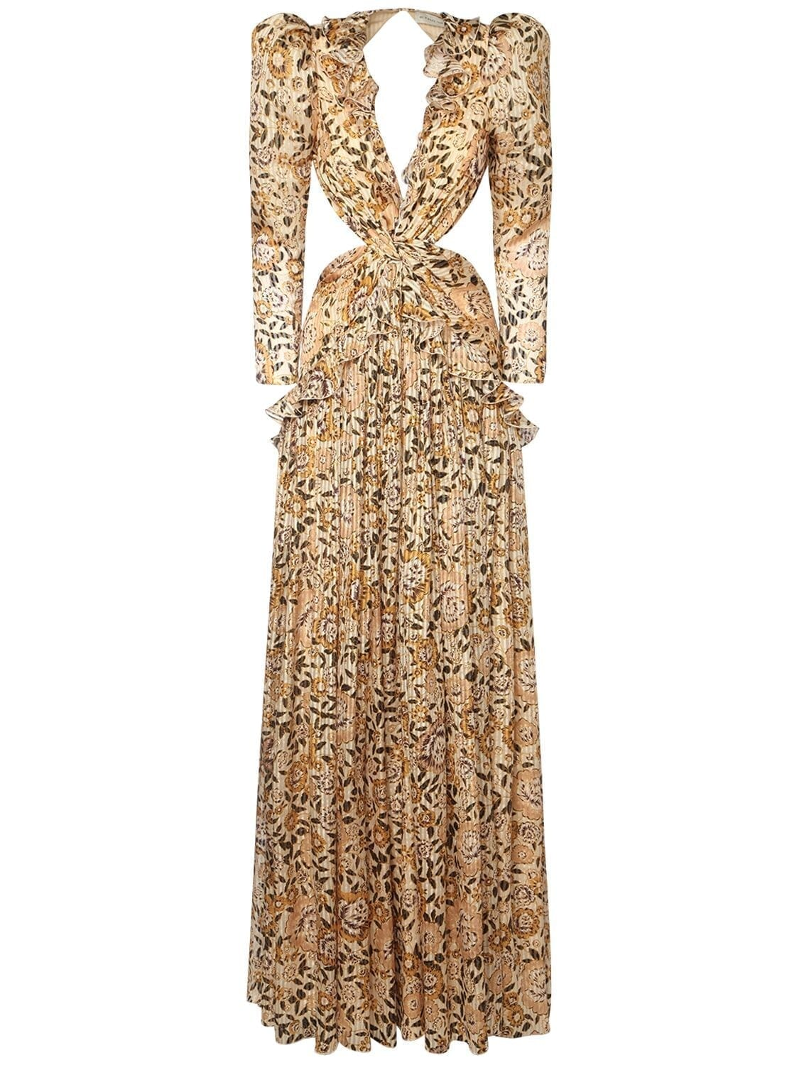 ETRO Lurex & Silk Crepon Cutout Long Dress
