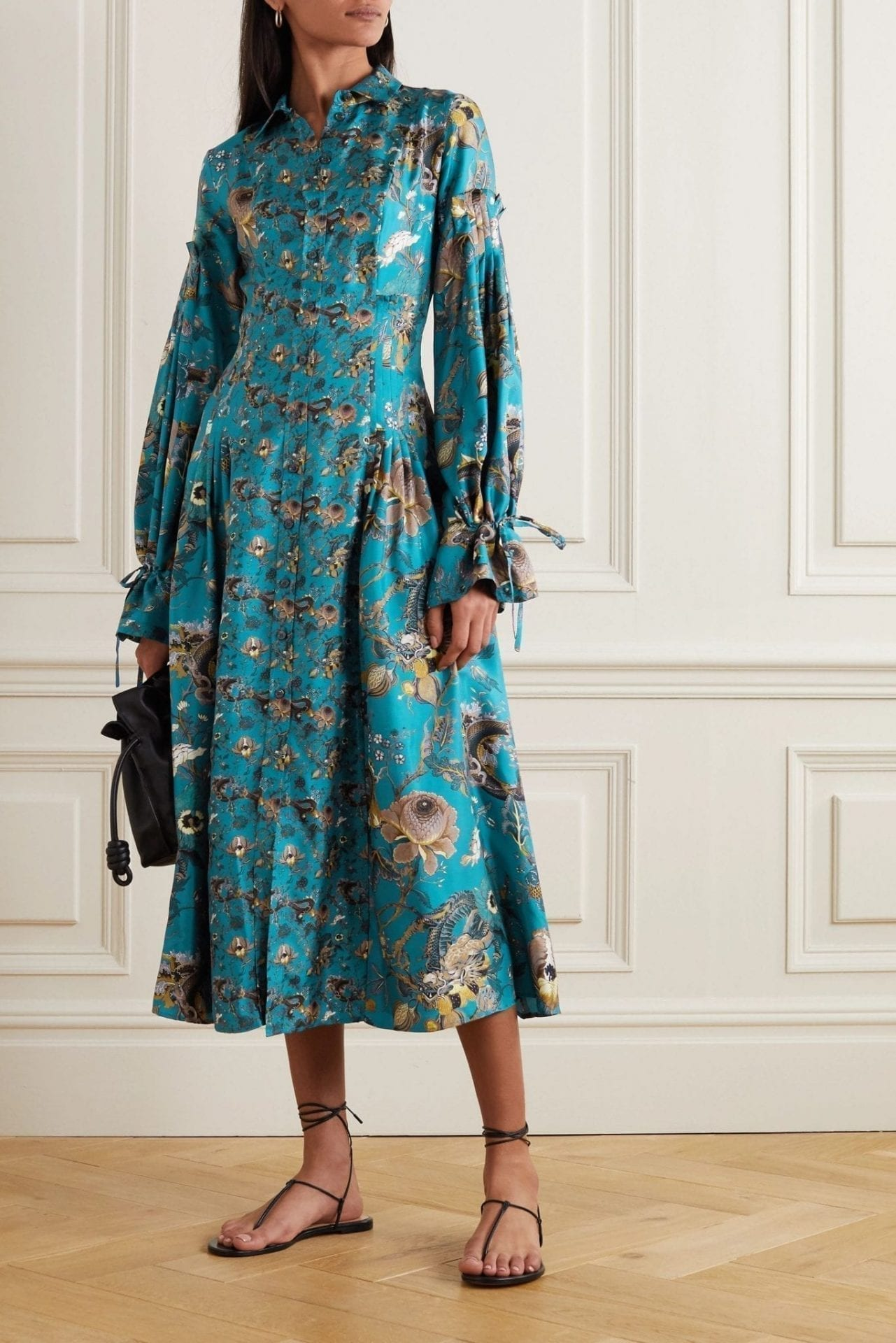 EVI GRINTELA Love Ruffled Floral-print Silk-twill Midi Shirt Dress
