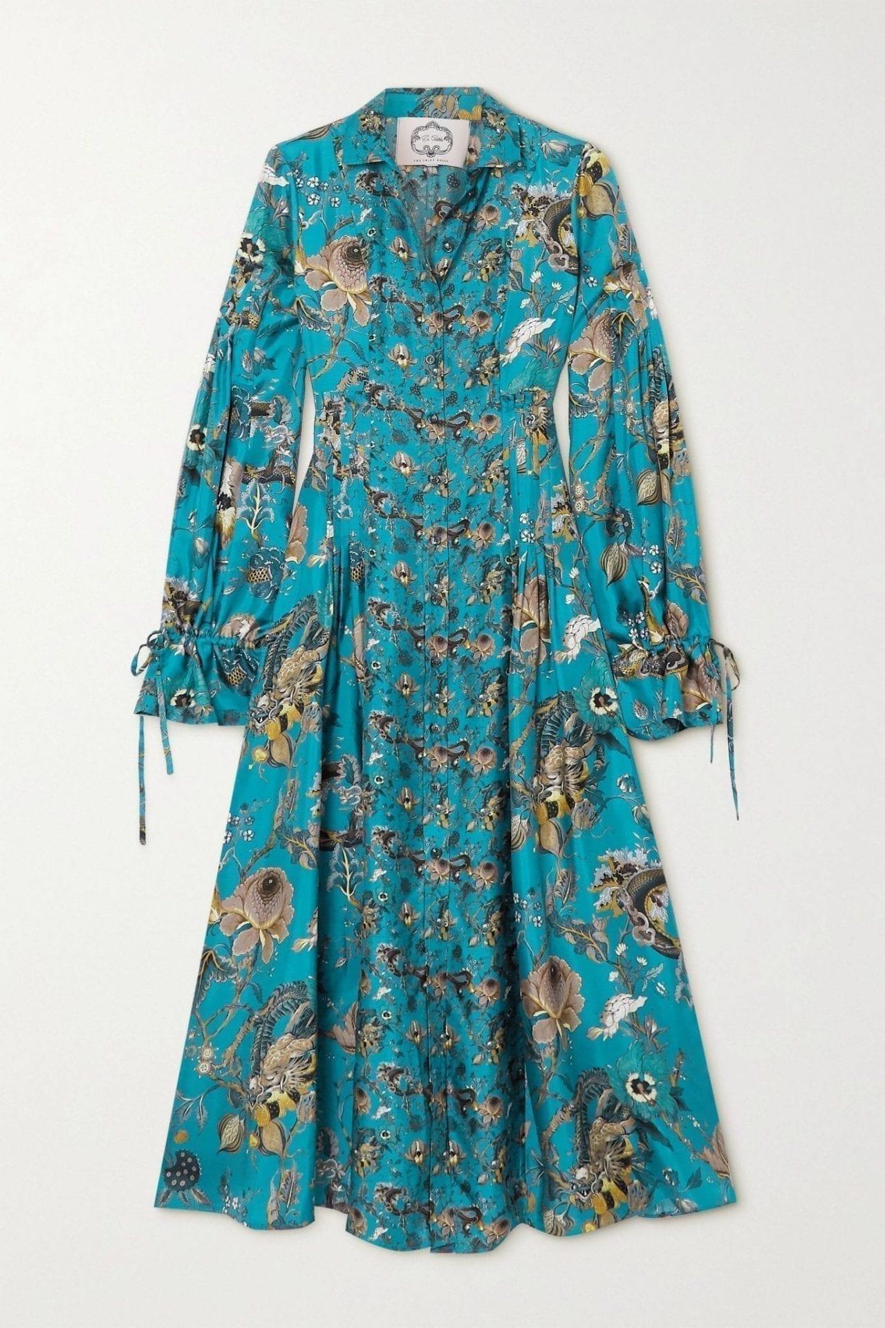 EVI GRINTELA Love Ruffled Floral-print Silk-twill Midi Shirt Dress