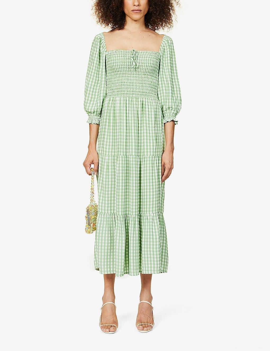 FAITHFULL THE BRAND Galet Gingham-print Puff-sleeve Woven Midi Dress