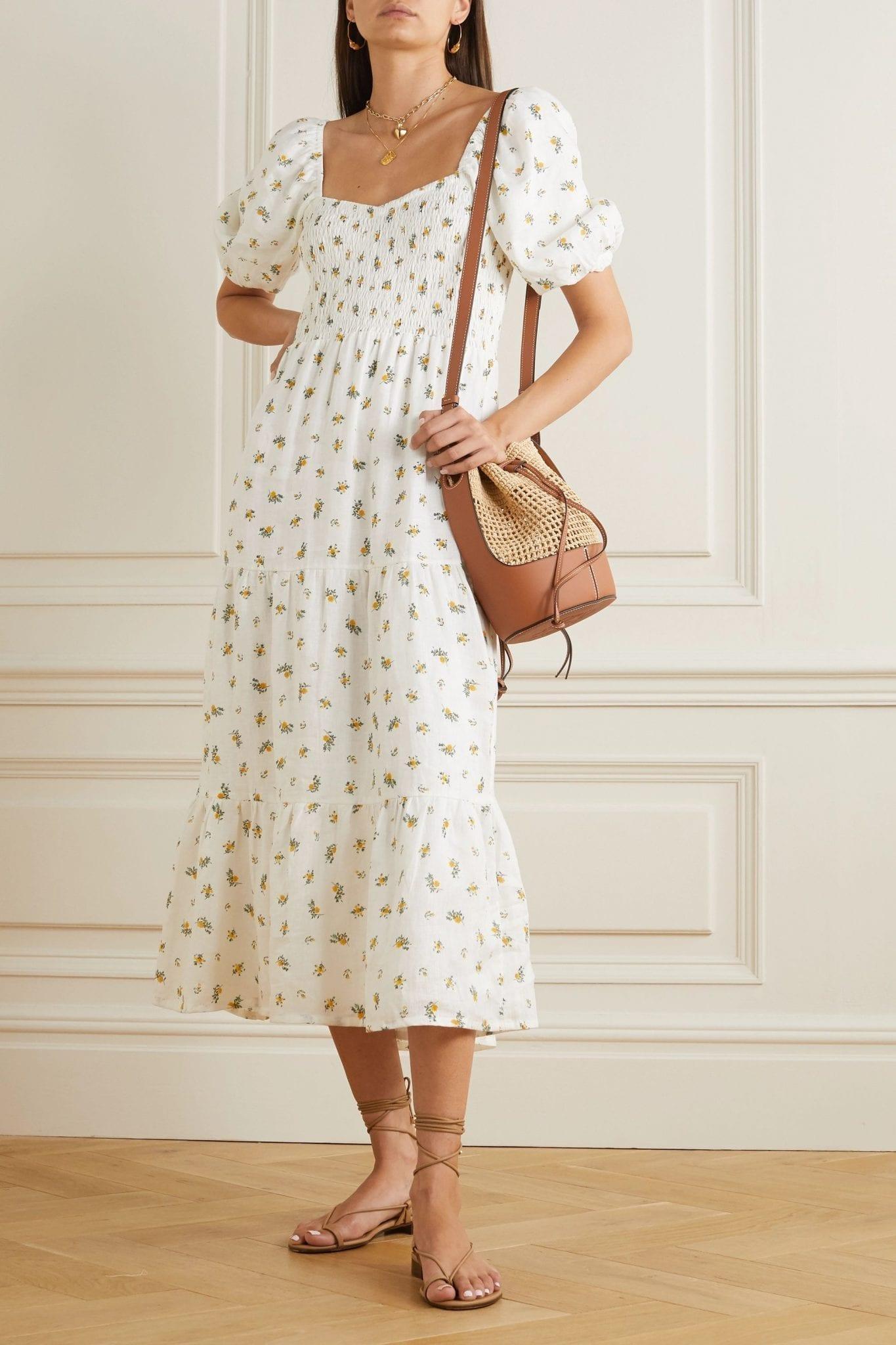 FAITHFULL THE BRAND + Net Sustain Gianna Shirred Tiered Floral-print Linen Midi Dress