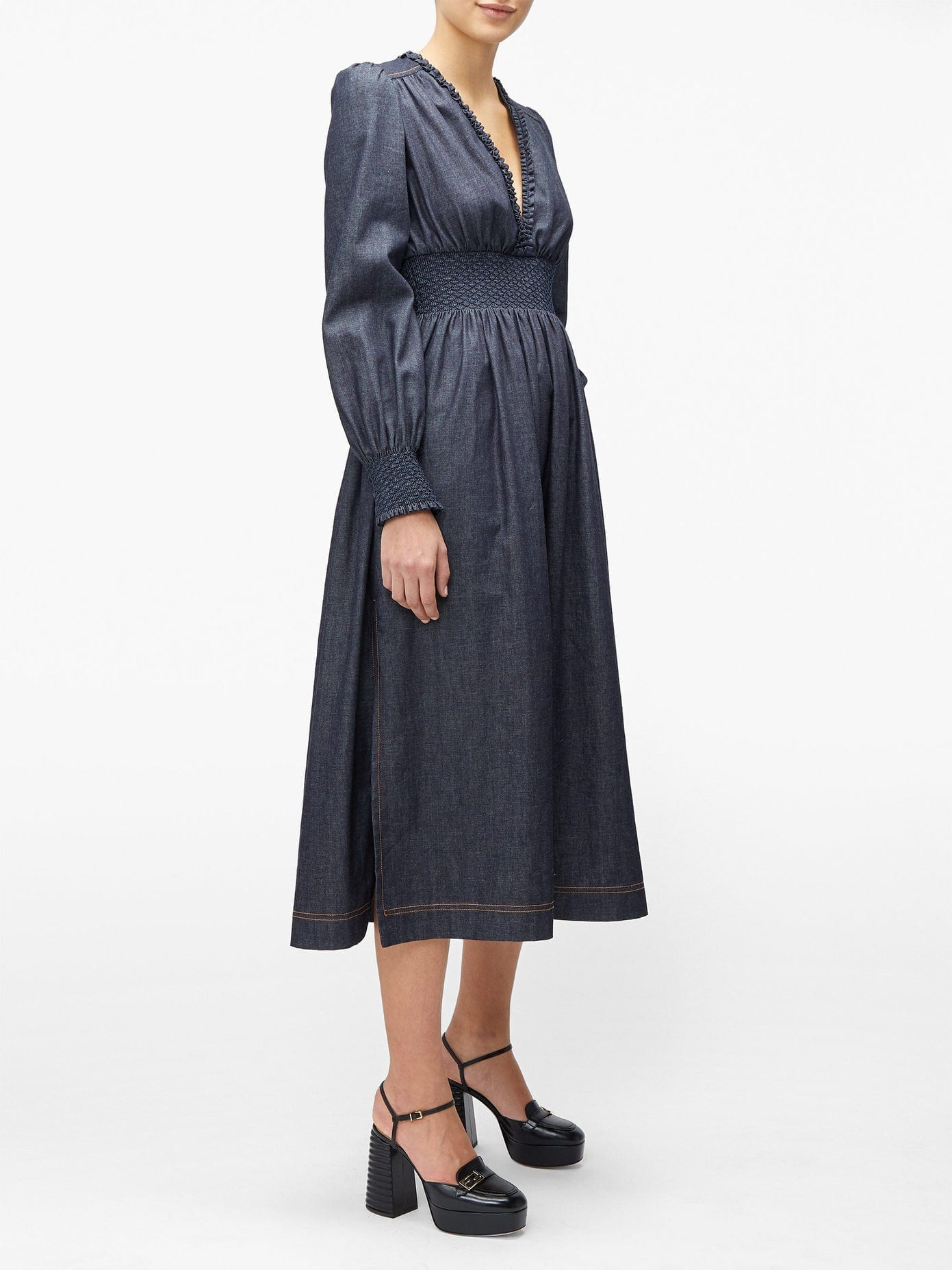 FENDI Smocked Chambray Midi Dress