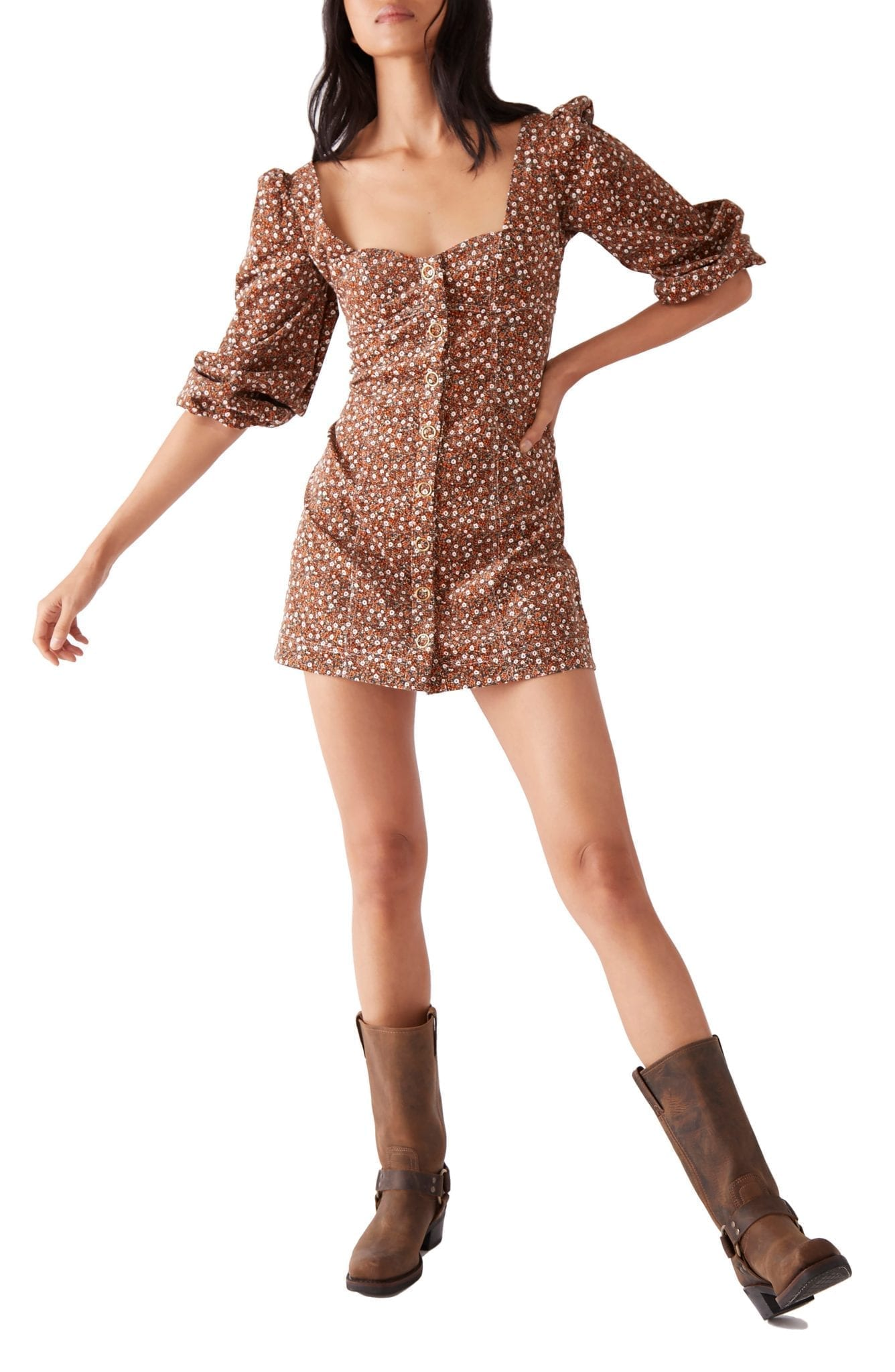 FREE PEOPLE Call Me Cord Puff Shoulder Mini Dress