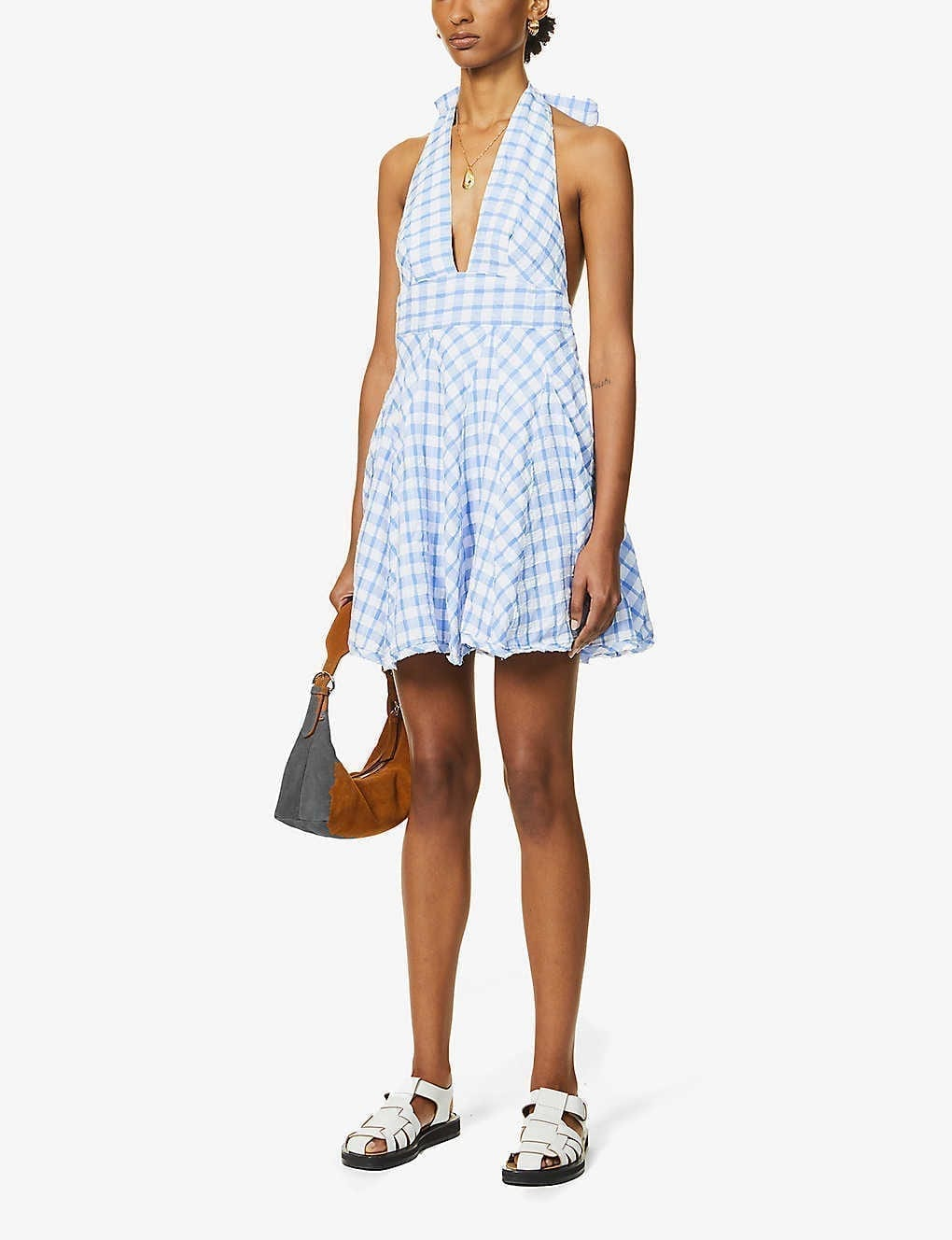 FREE PEOPLE Do The Twist Checked Woven Mini Dress
