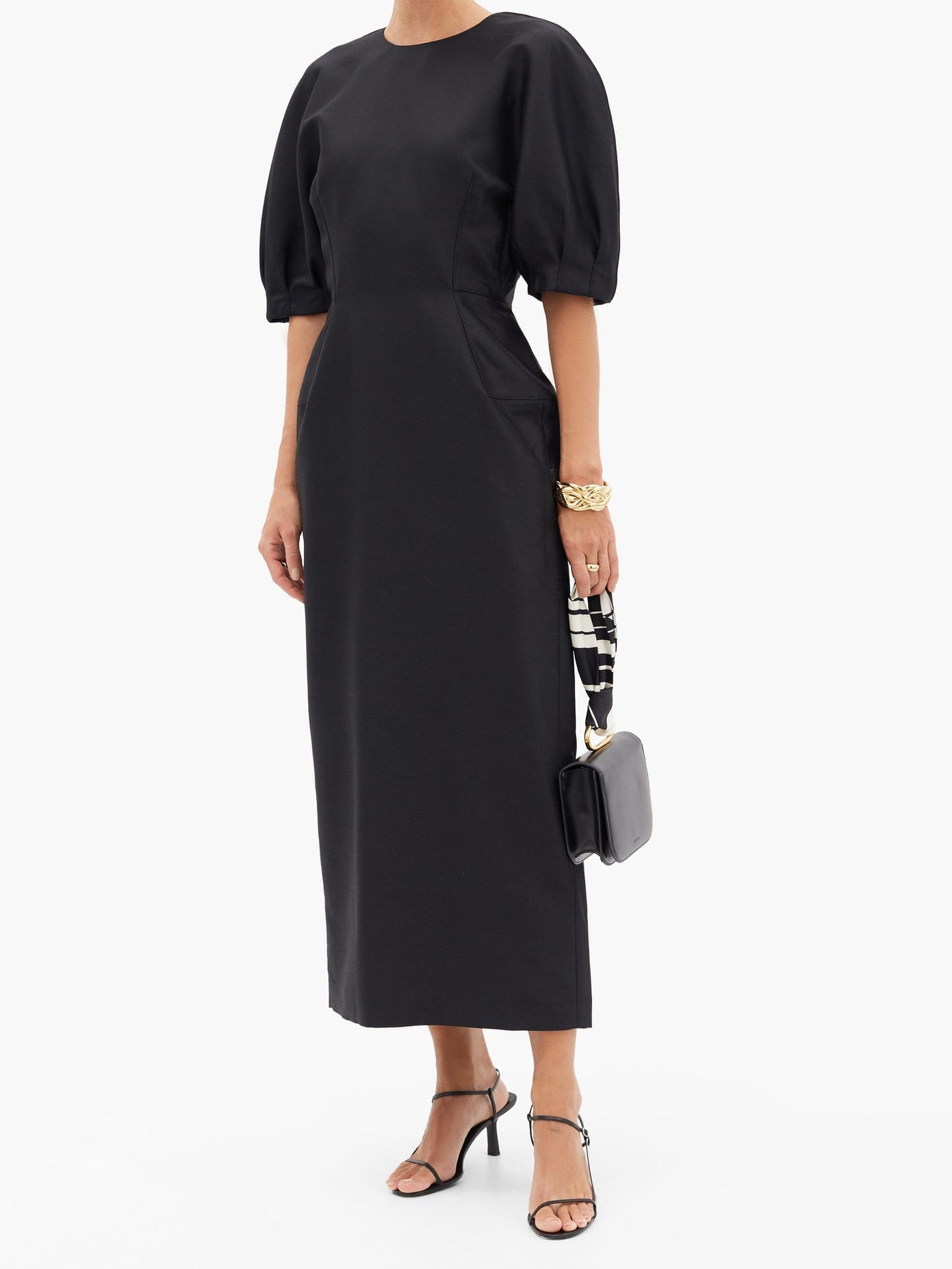 GABRIELA HEARST Coretta Puff-sleeve Wool-blend Crepe Midi Dress