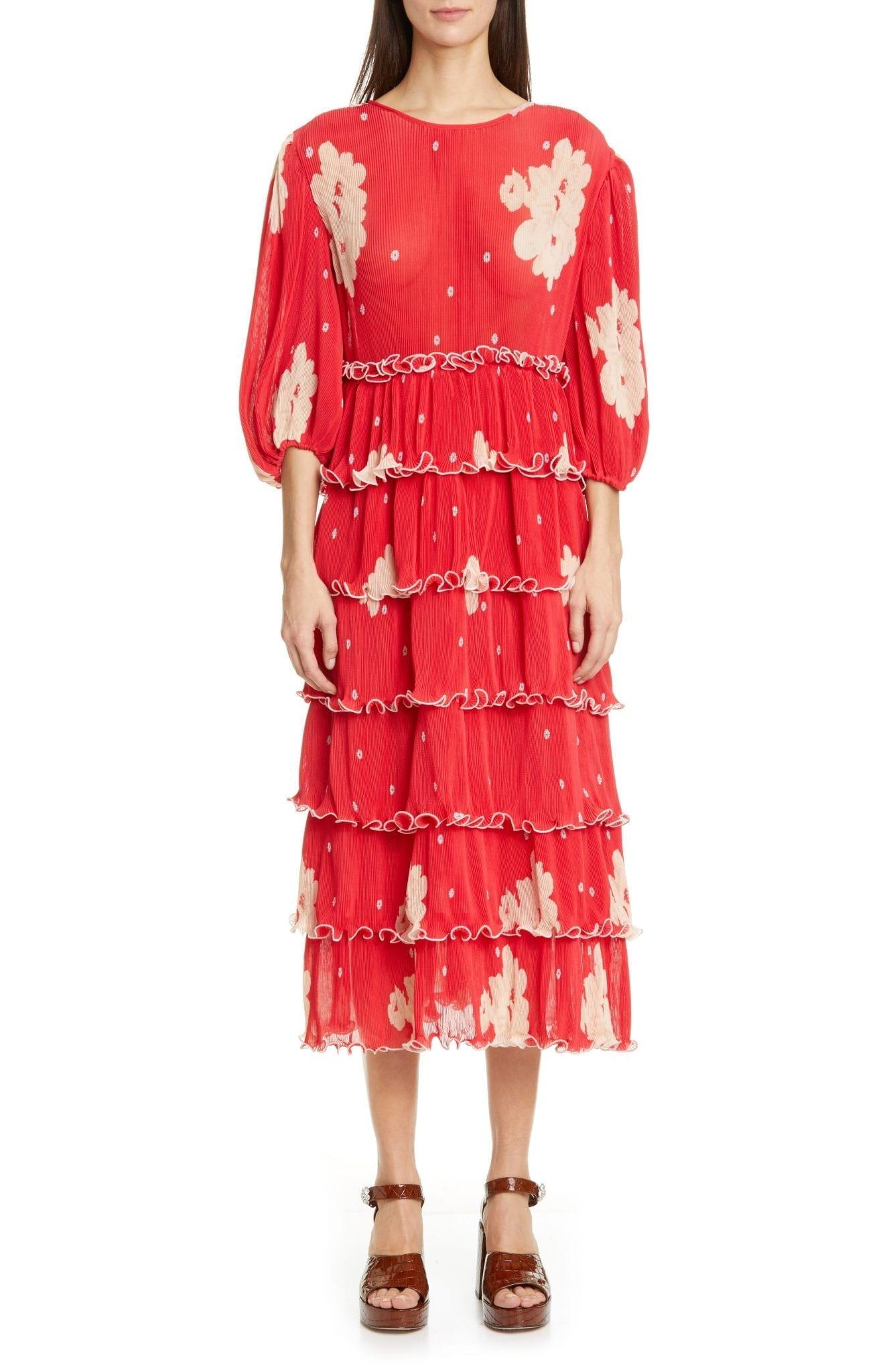 GANNI Polka Dot Tiered Long Sleeve Plissè Midi Dress