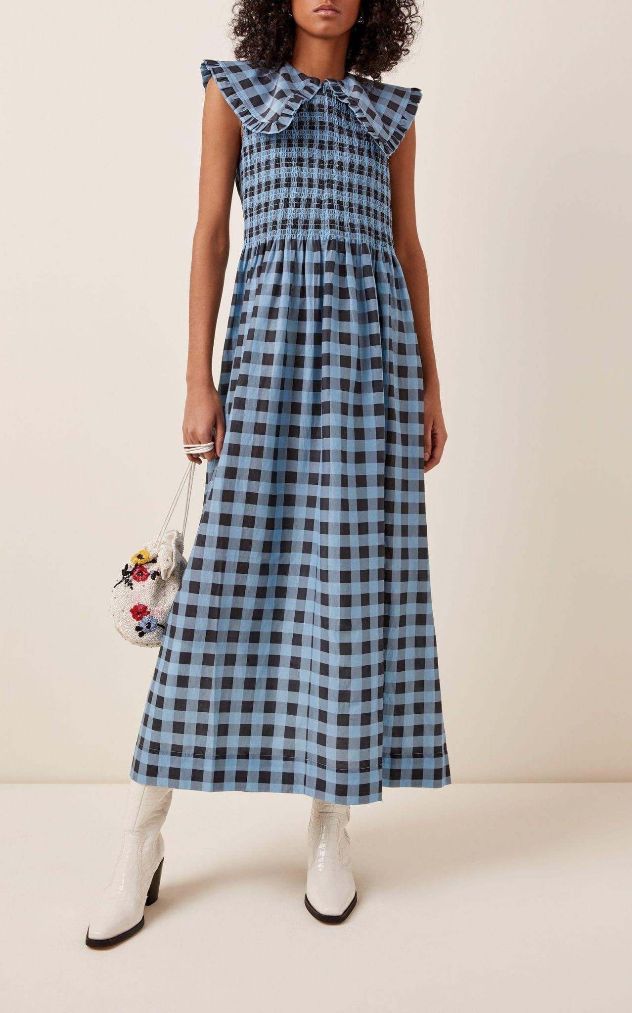GANNI Printed Smocked Cotton-Blend Midi Dress