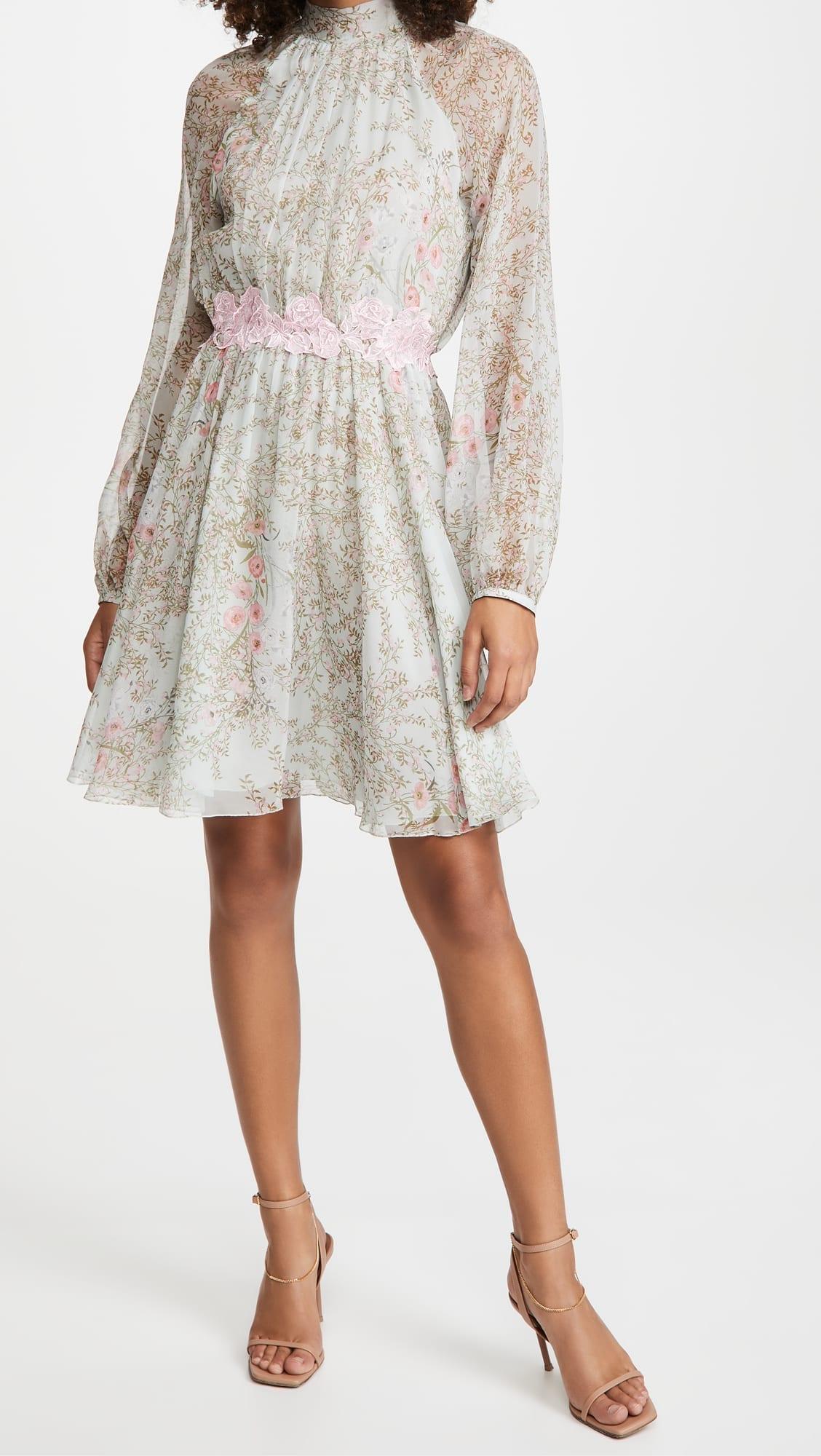 GIAMBATTISTA VALLI Long Sleeve High Neck Mini Dress