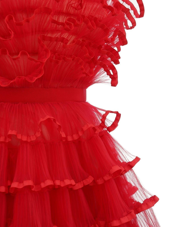 GIAMBATTISTA VALLI Ruffled Strapless Tulle Long Dress