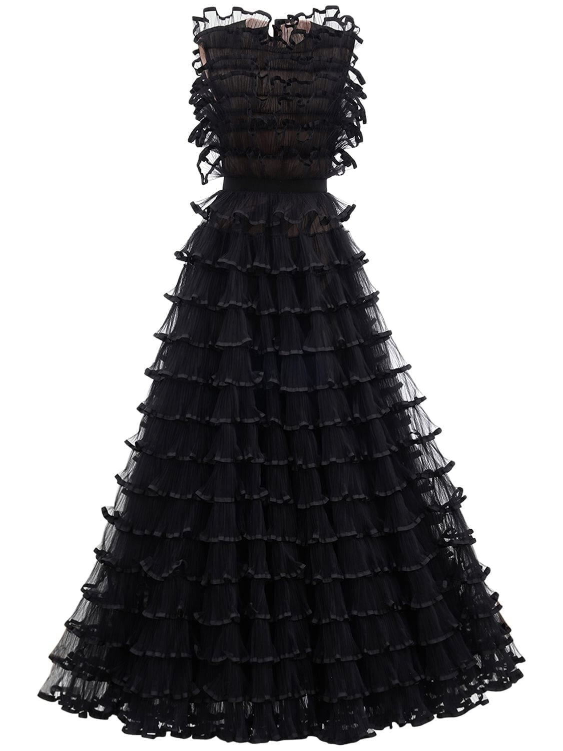 GIAMBATTISTA VALLI Sleeveless Ruffled Tulle Dress