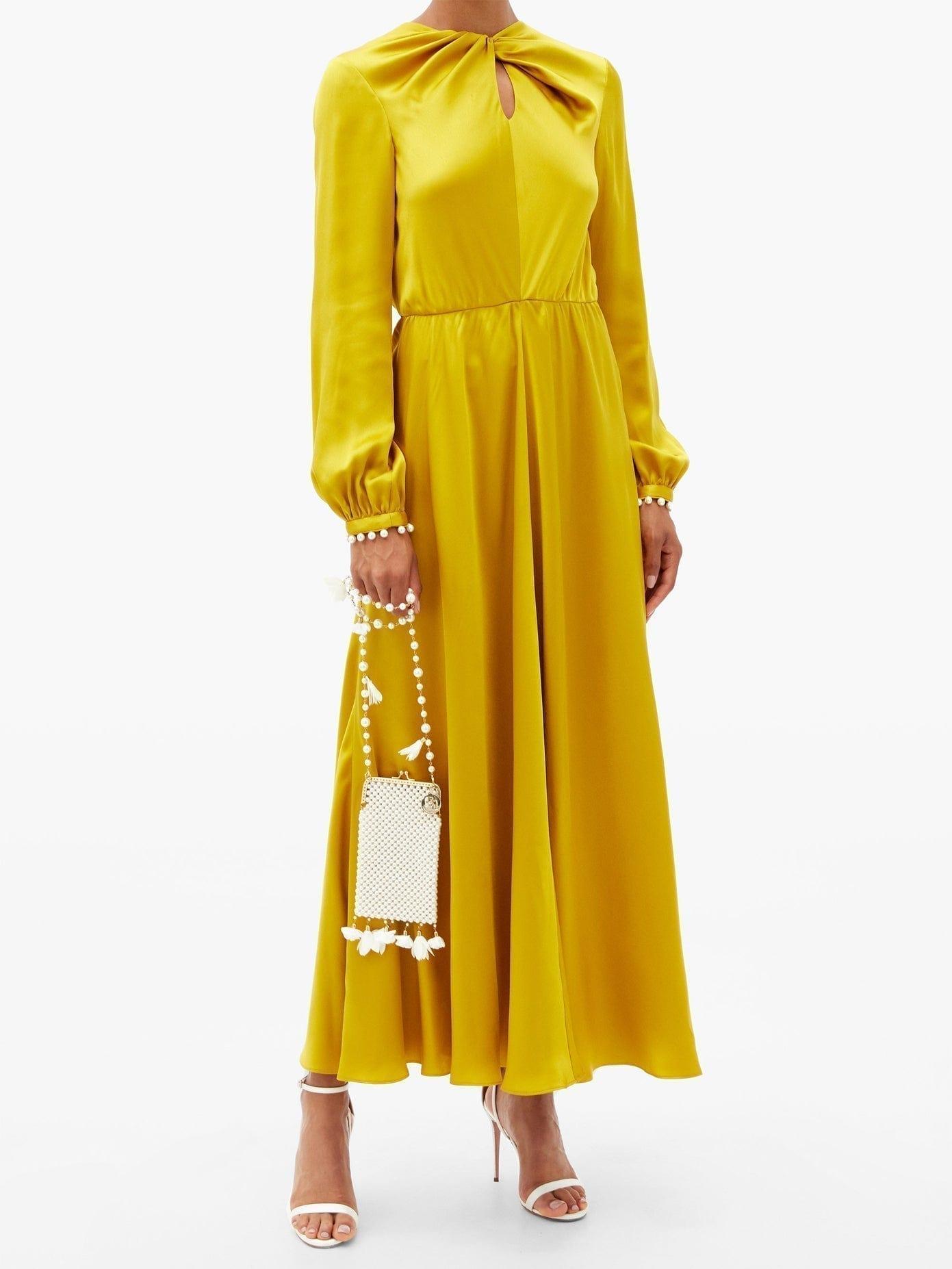 GIAMBATTISTA VALLI Twisted-front Pearl-embellished Silk-satin Dress