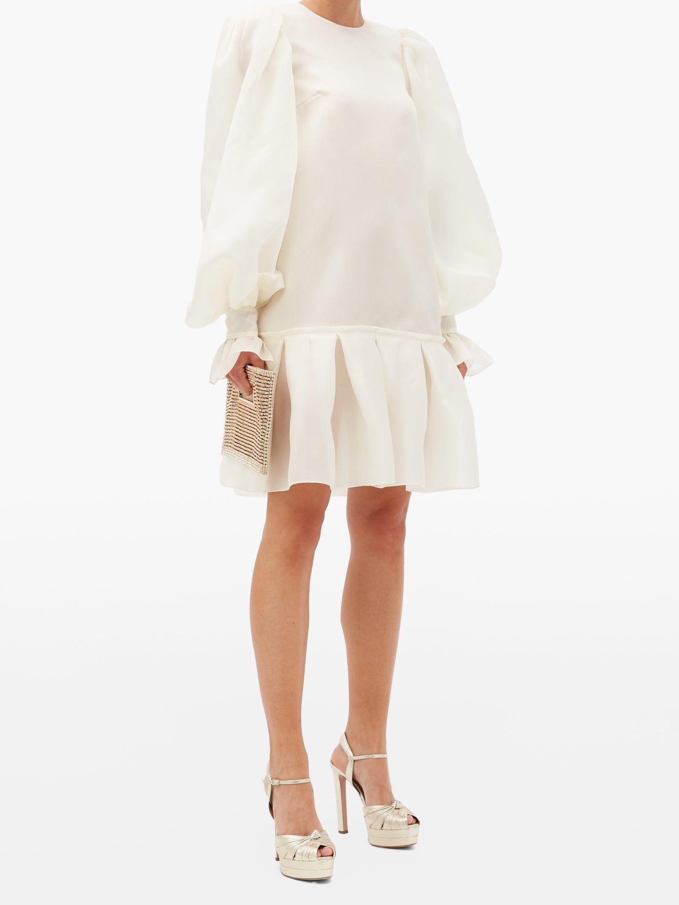 GILES Kristen Balloon-sleeved Silk-organza Mini Dress