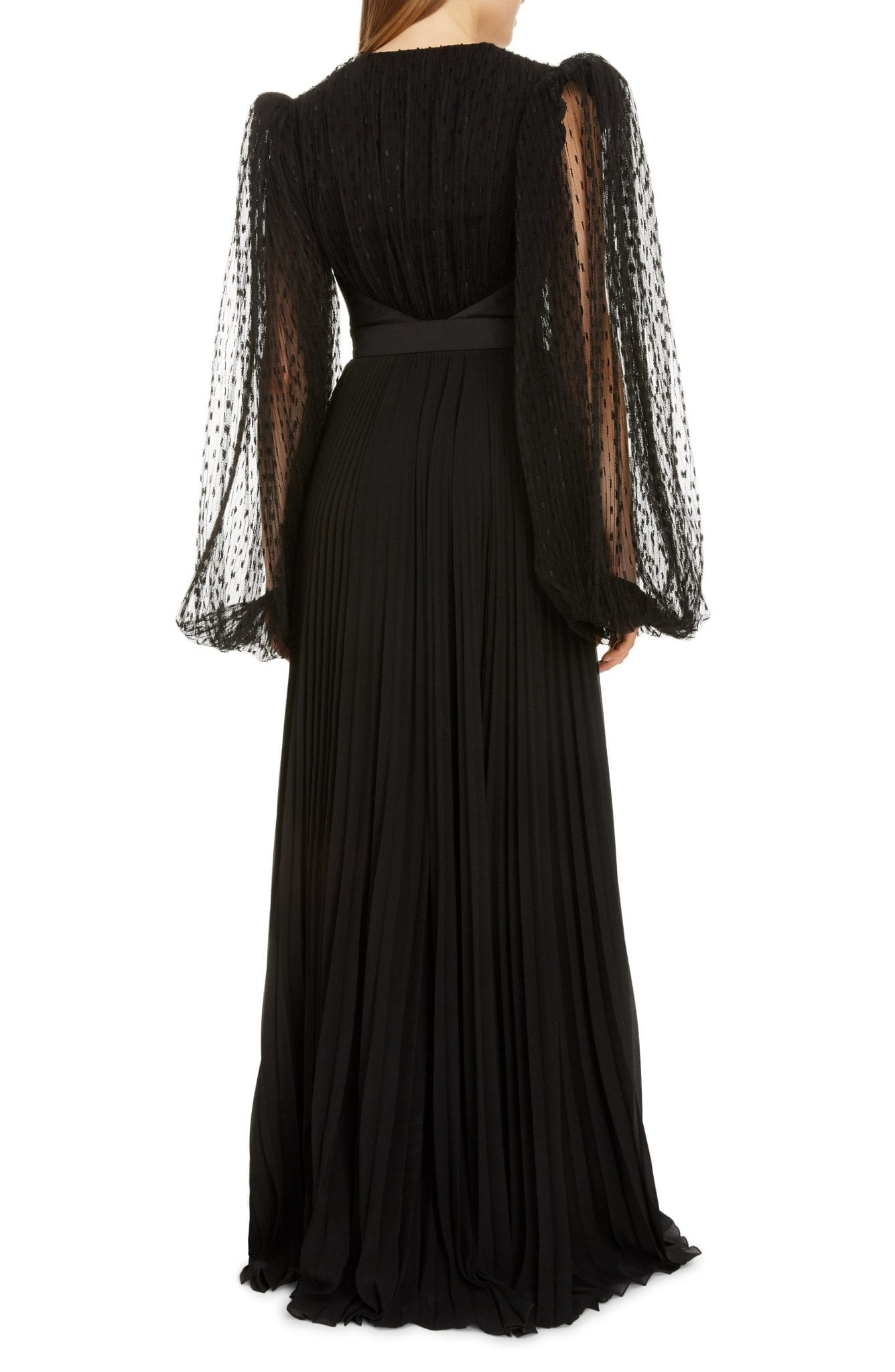 GIVENCHY Plumetis Long Sleeve Pleated Tulle Gown